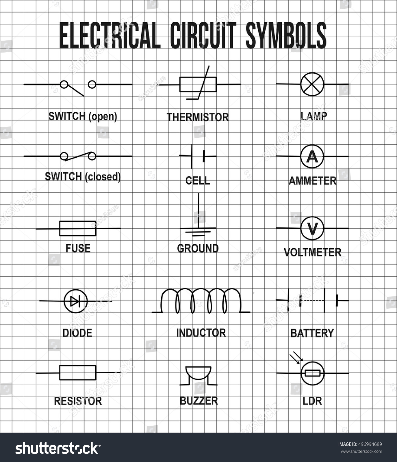 Electrical Circuit Symbols On On Math Stock Photo Photo Vector