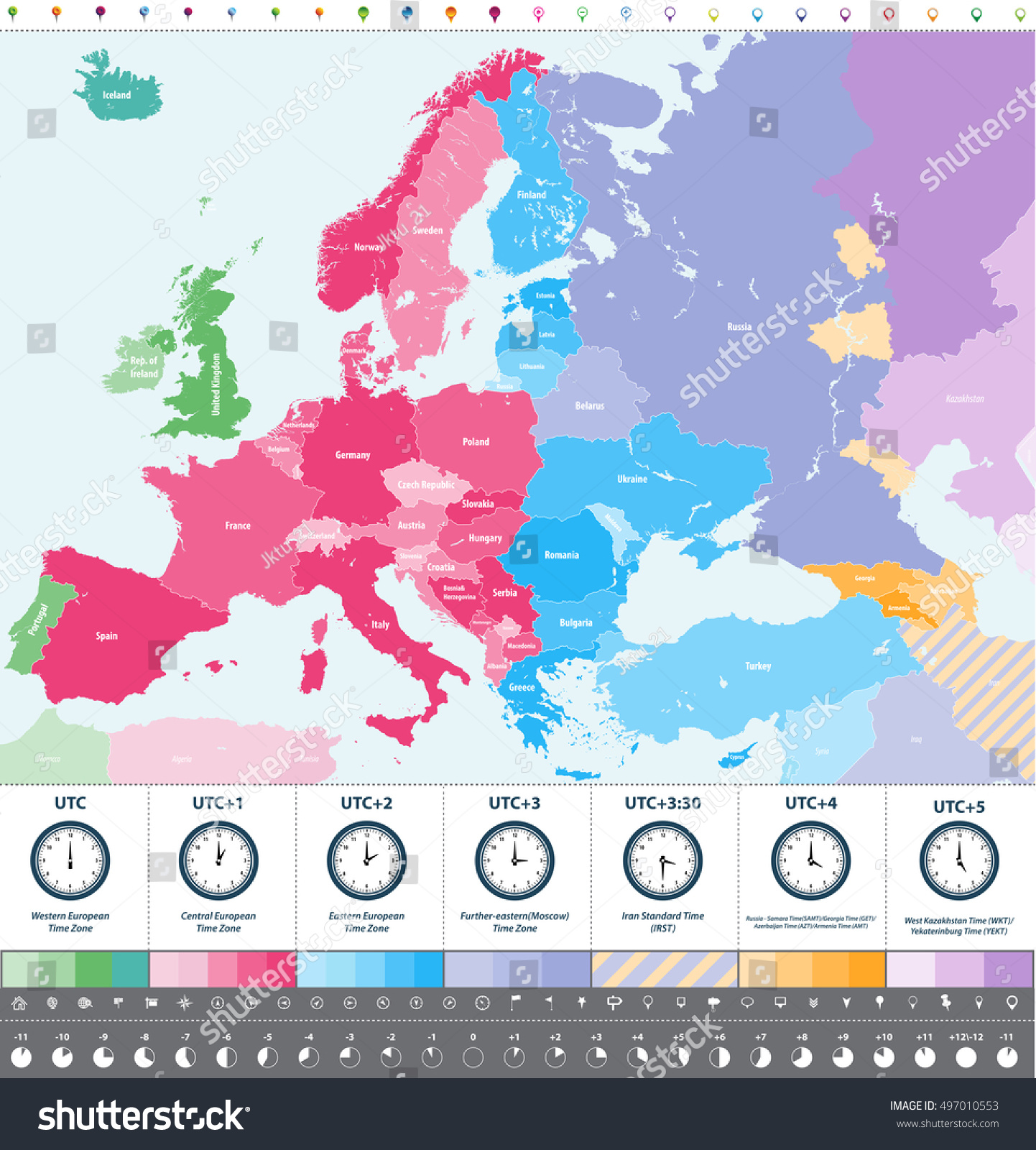 Europe Time Zones High Detailed Map Stock Vector 497010553 Shutterstock