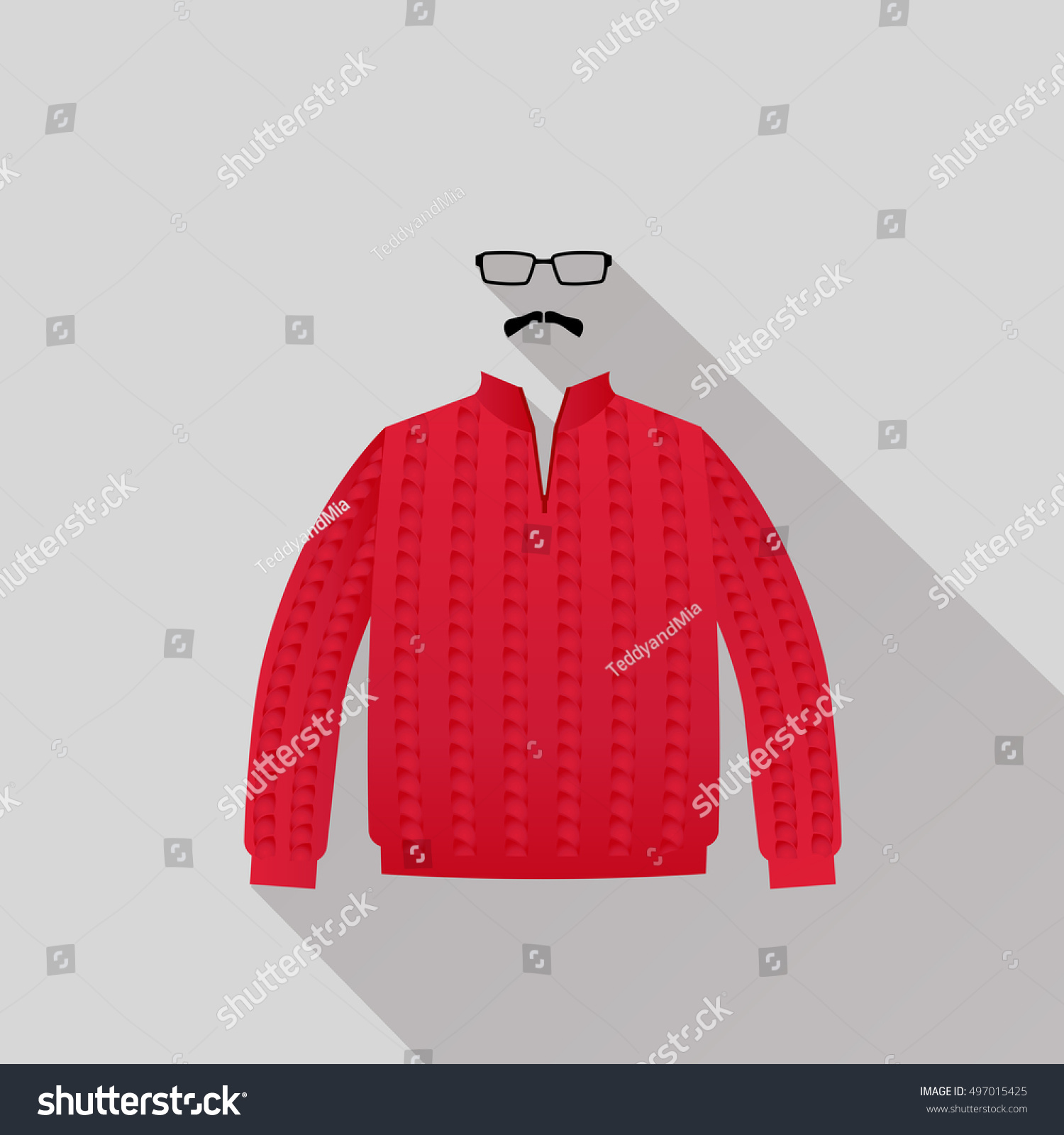 Red Sweater Mustache Eyeglasses Stock Vector 497015425 - Shutterstock