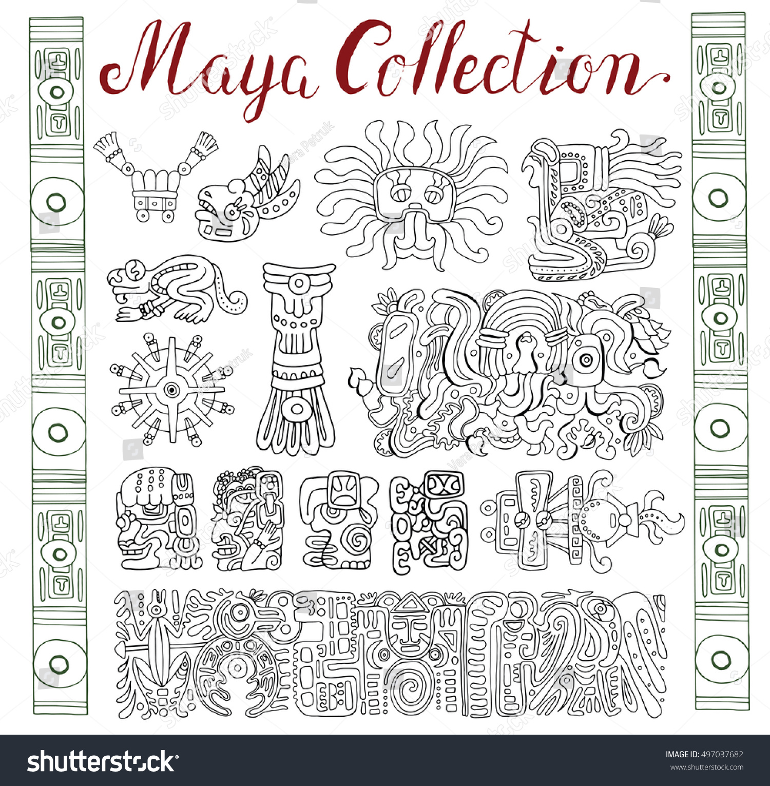 Vintage Collection Graphic Maya Inca Aztec Stock Vector Royalty