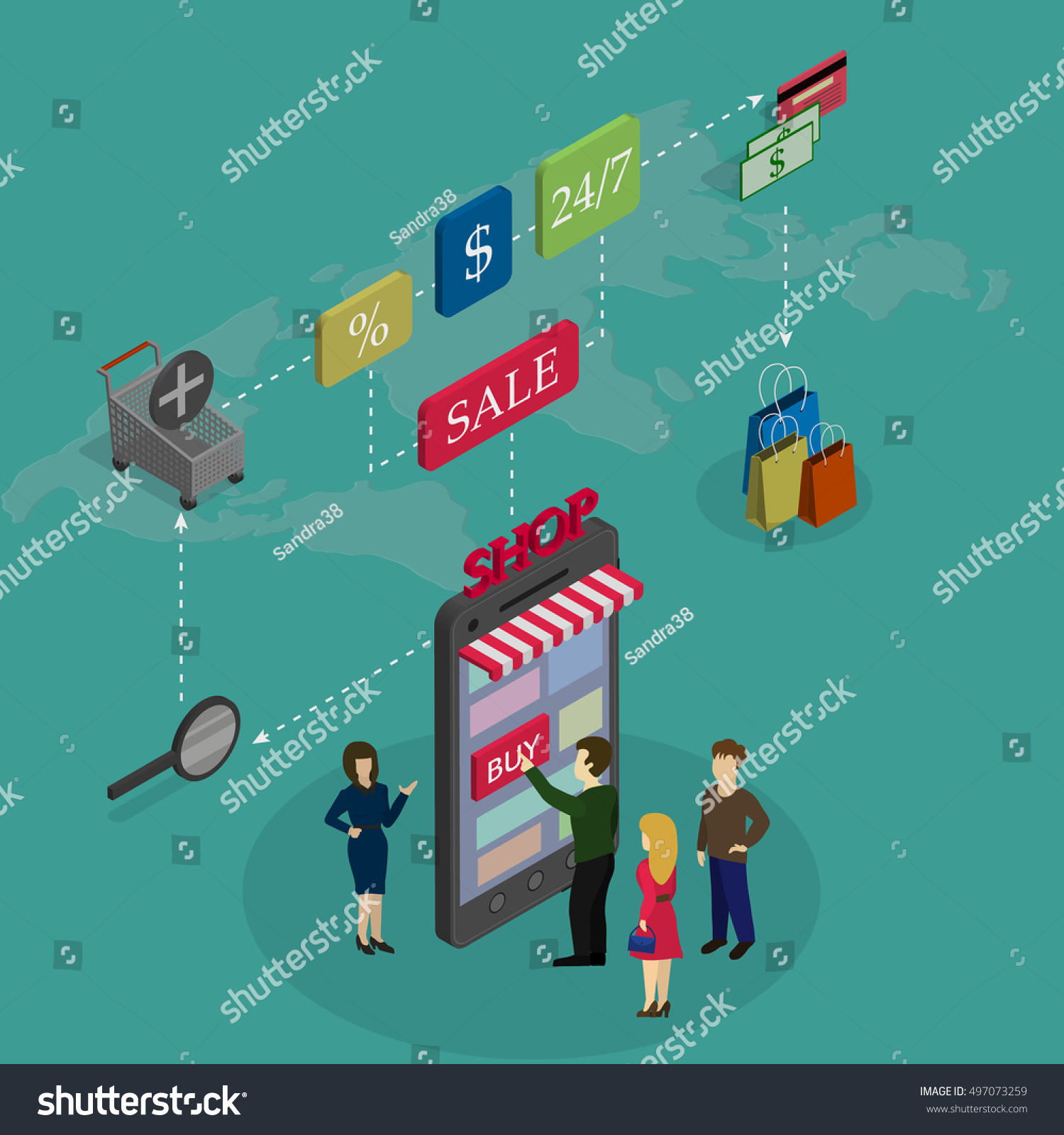 Concept online shopping people buy phone vectores en stock 497073259 the concept of online shopping people buy the phone on a world map background and gumiabroncs Gallery