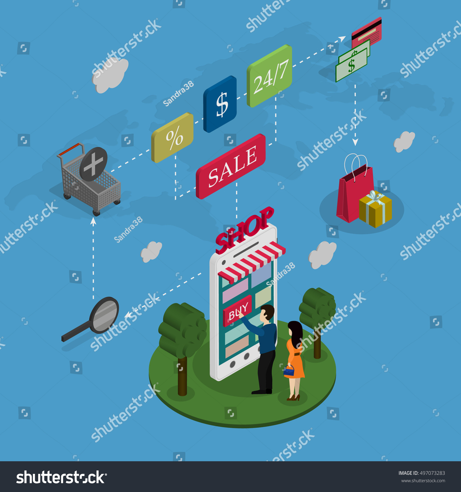 Concept online store people buy phone stock vector hd royalty free the concept of the online store people buy the phone on a world map background gumiabroncs Images