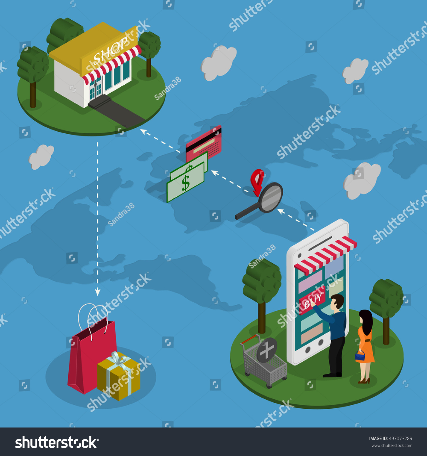 Concept online store people buy phone vectores en stock 497073289 people buy the phone on a world map background gumiabroncs Images