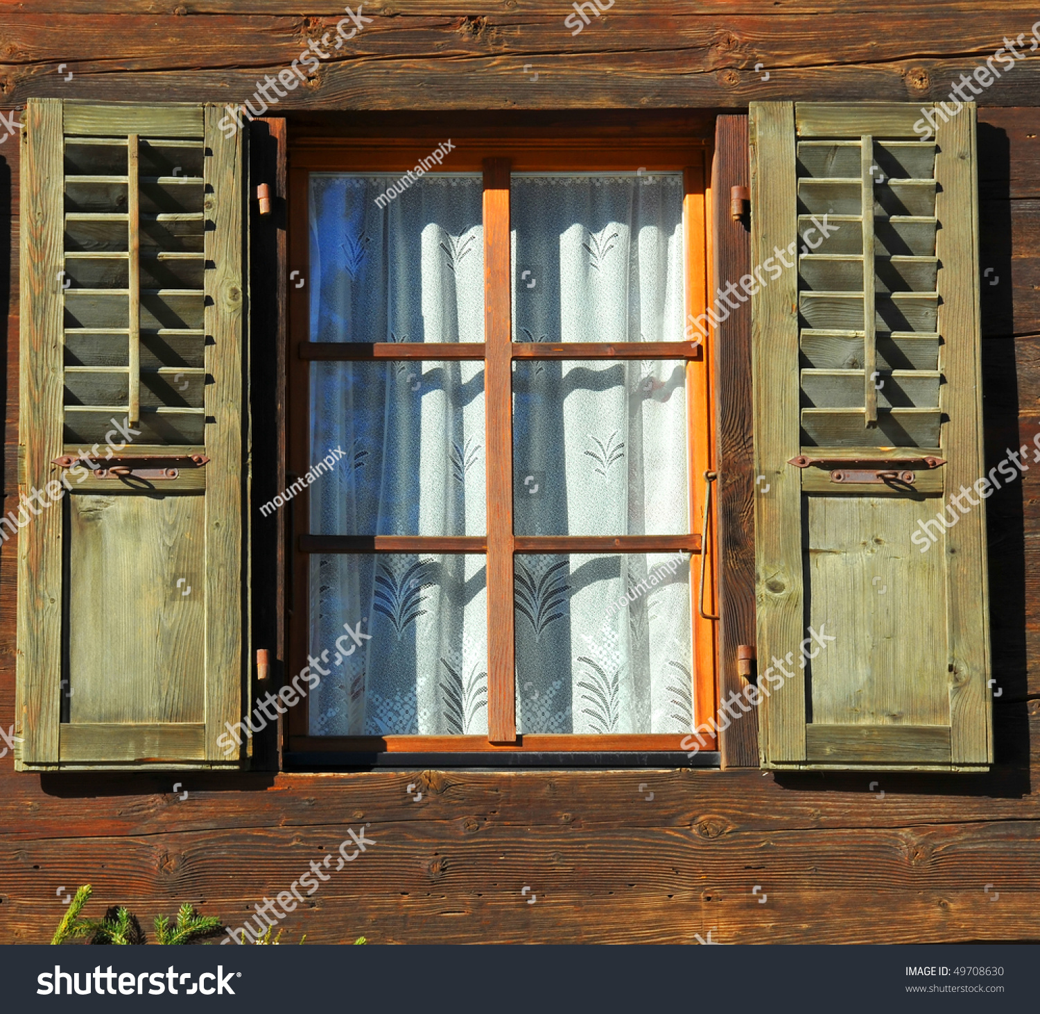 Old Window Traditional Mountain Log Cabin Stock Photo