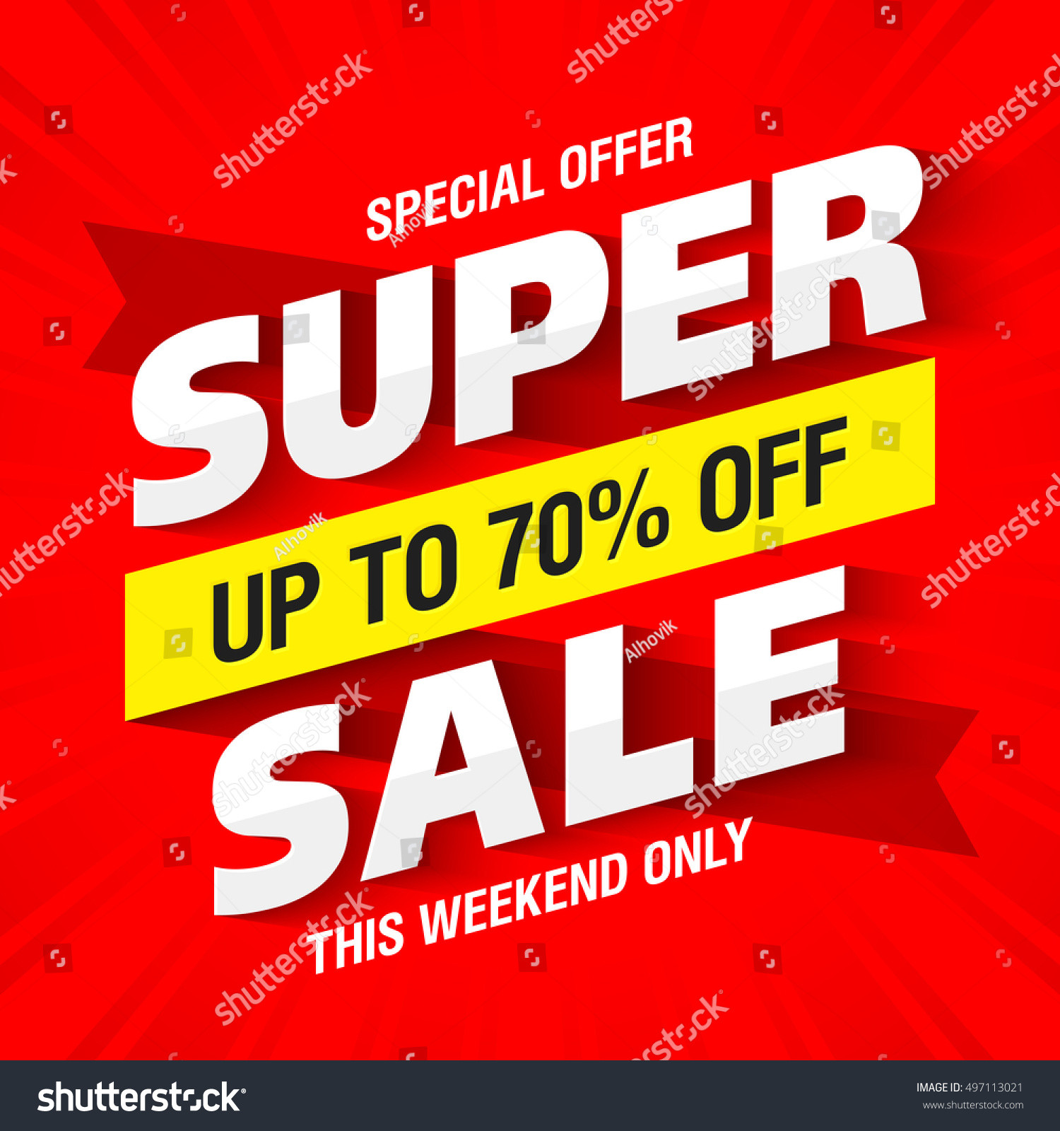 Weekend Sale Banner: Super Sale Banner This Weekend Only Stock Vector 497113021