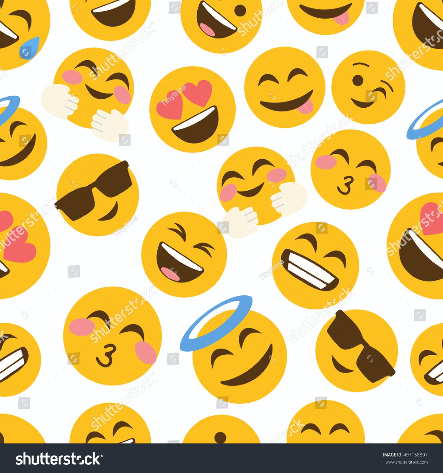 emoji seamless pattern on white background stock vector