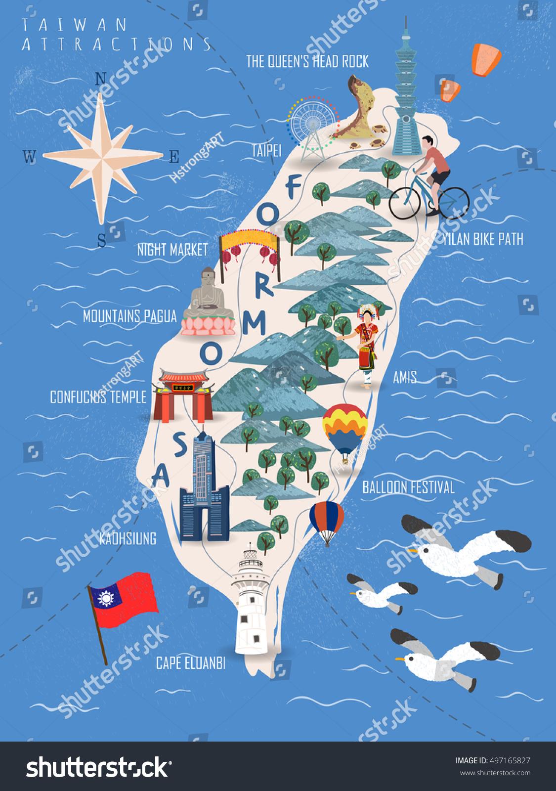 Taiwan Travel Poster Taiwan Map Famous Stock Vector - Taiwan map