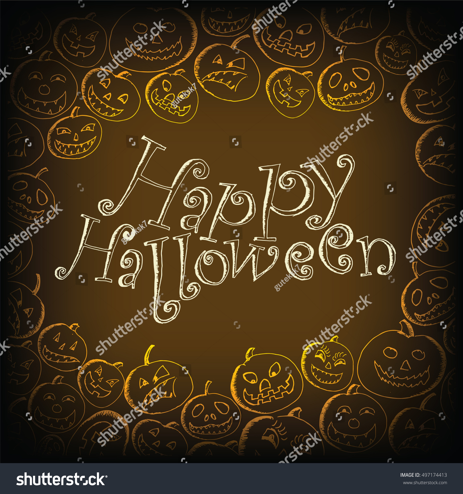 doodle happy halloween wishes card sketched stock vector 497174413