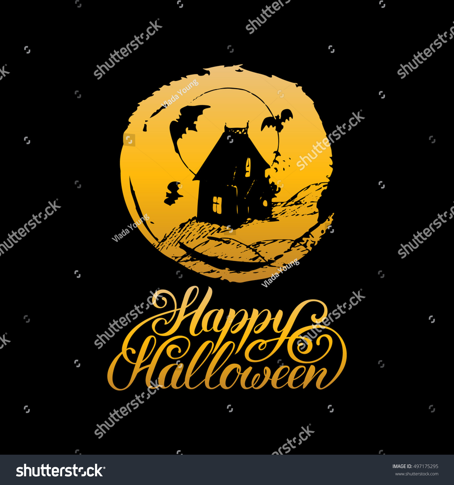 Vector illustration happy halloween lettering all stock vector vector illustration with happy halloween lettering all saints eve background festive traditional symbols biocorpaavc Gallery