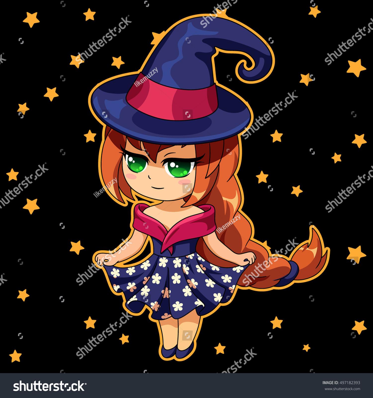 cute cartoon witch anime manga style stock vector
