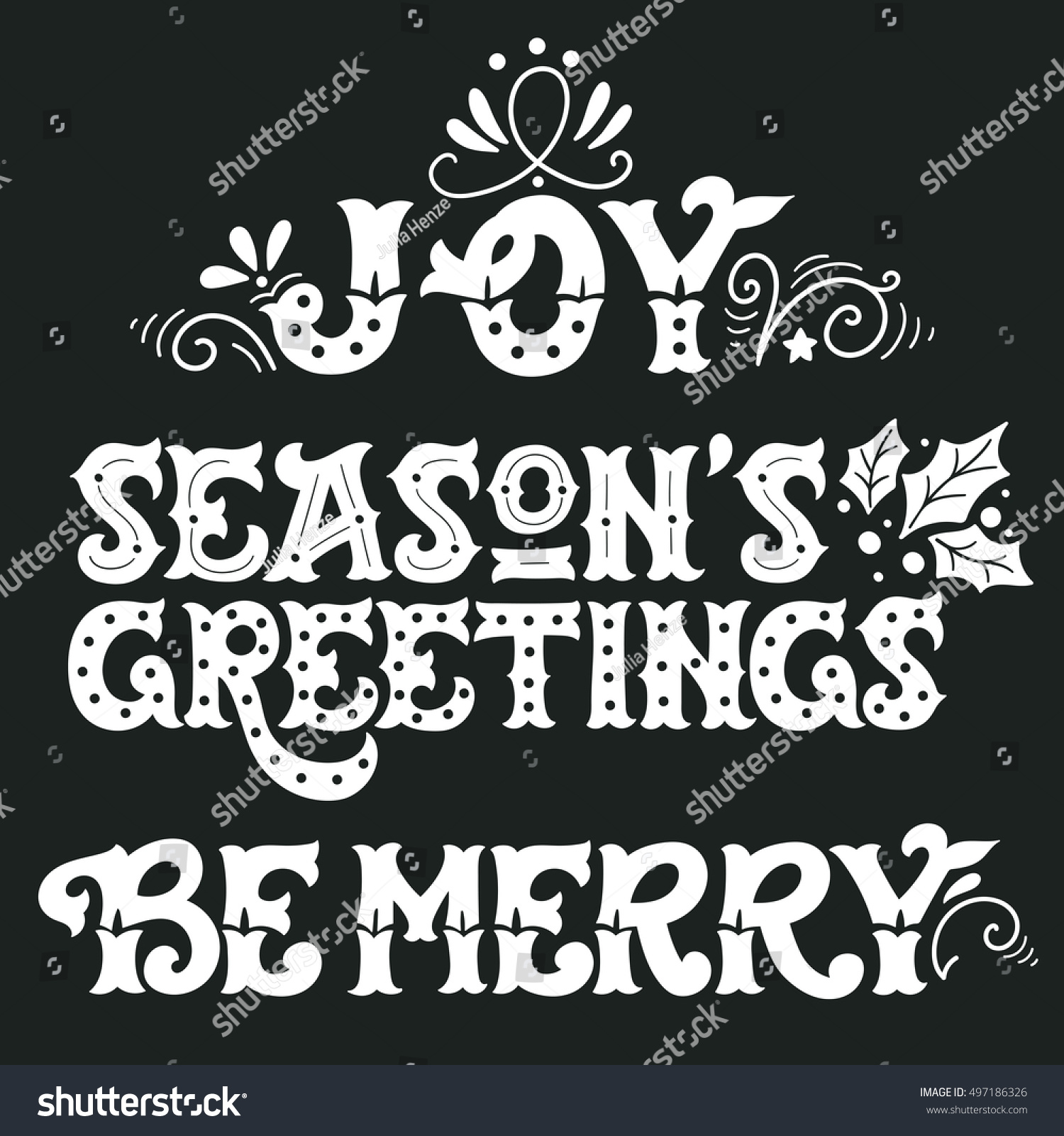 Joy Seasons Greetings Be Merry Collection Of Hand Drawn Winter