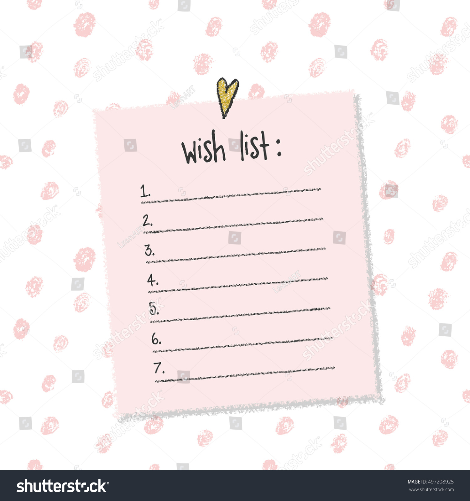 christmas wish list template hand drawn stock vector royalty free