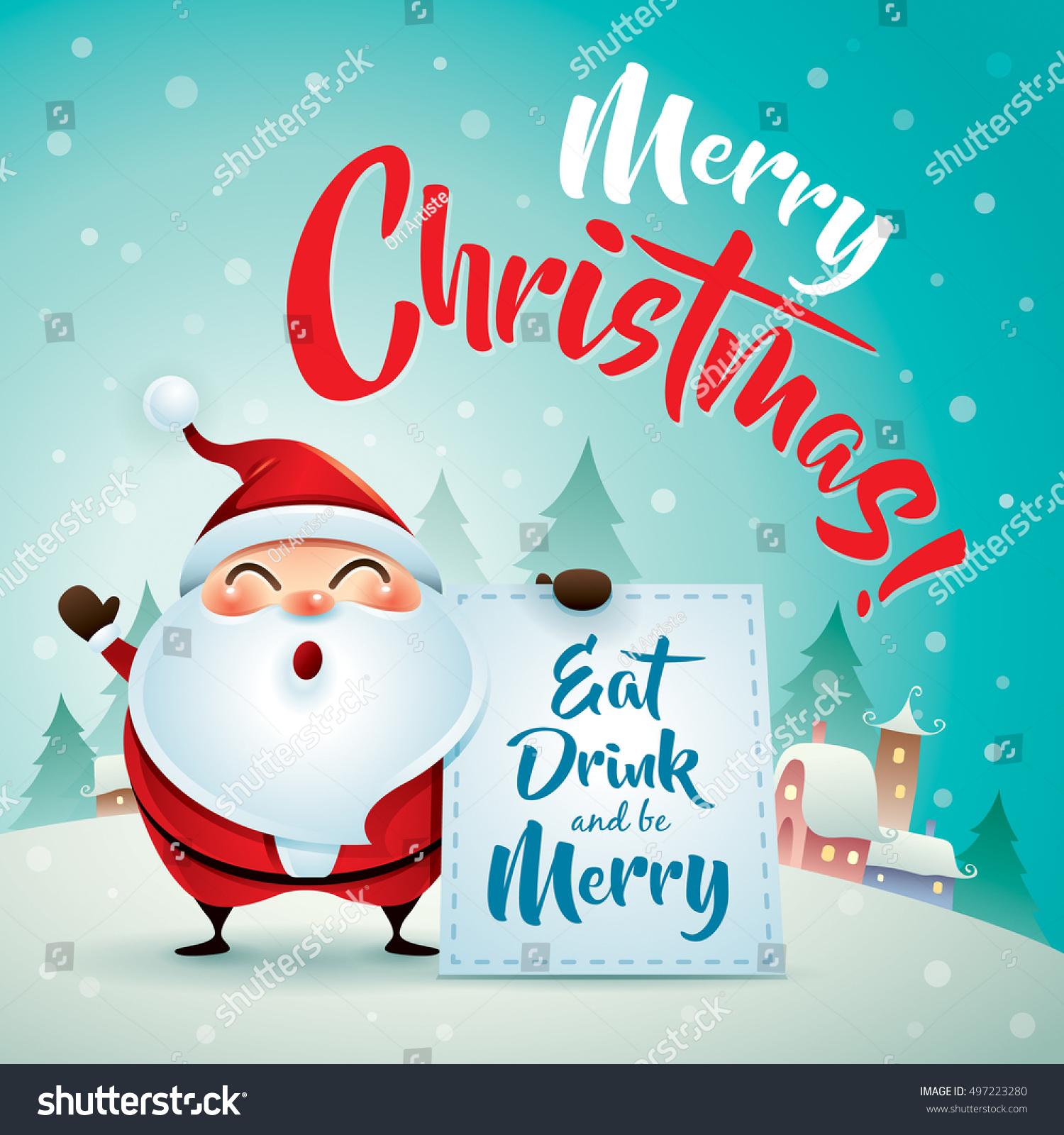 Merry Christmas Santa Claus Christmas Snow Stock Vector 497223280 ...