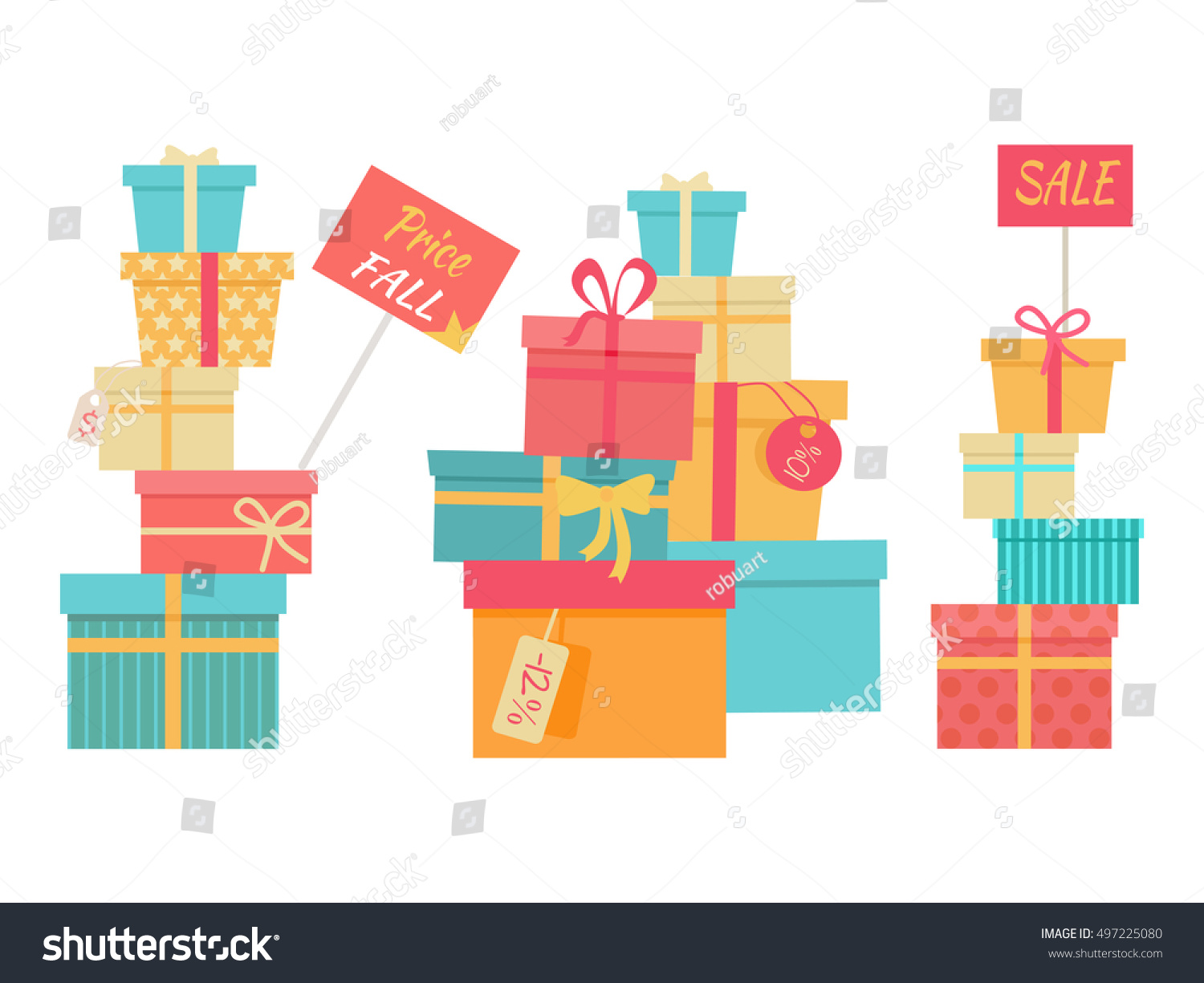 Price fall sale concept set big stock vector 497225080 shutterstock price fall sale concept set big piles of colorful wrapped gift boxes mountain gifts buycottarizona Gallery