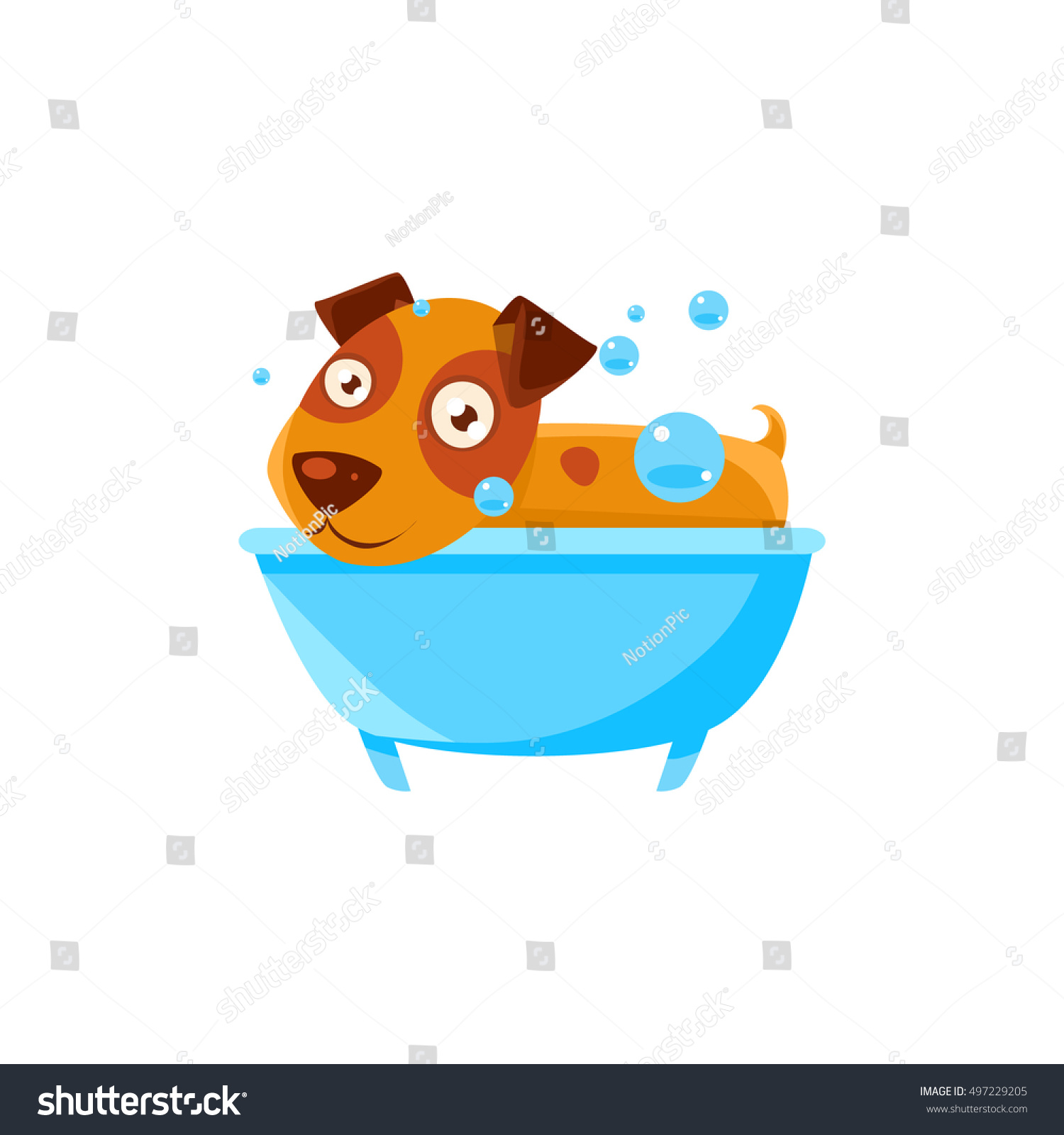 Puppy Taking Bubble Bath Tub Stock Vector 497229205 - Shutterstock