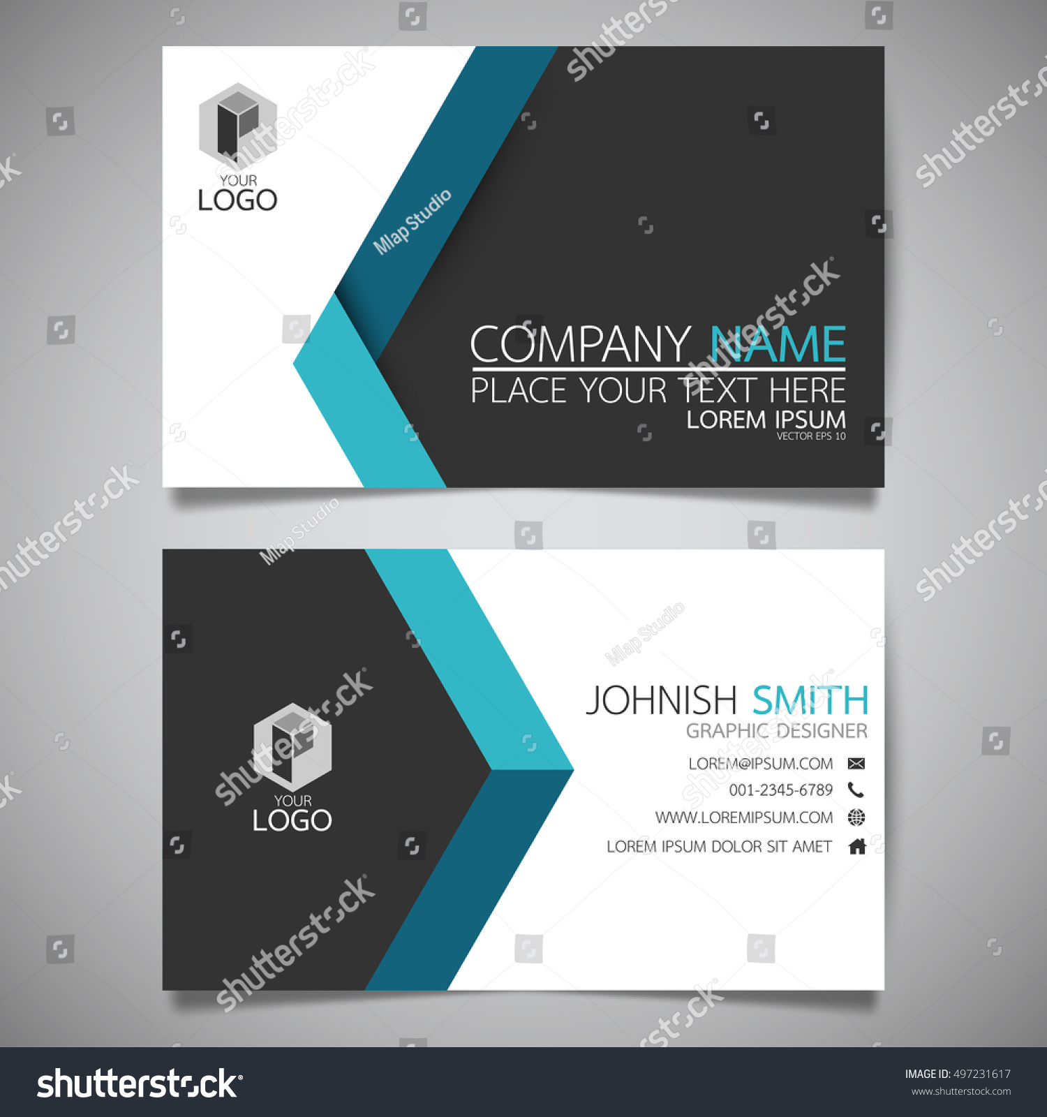 blue modern creative business card and name cardhorizontal simple clean template vector design