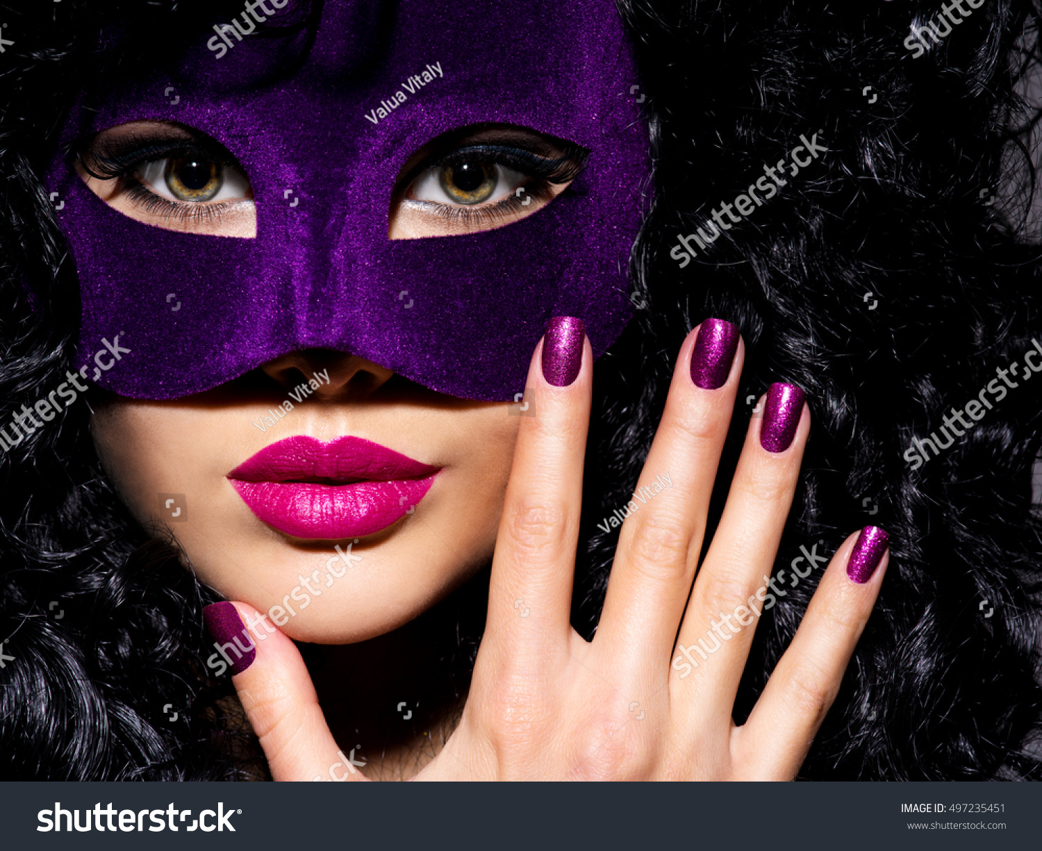 Portrait Beautiful Woman Violet Mask On Stock Photo (Royalty Free ...