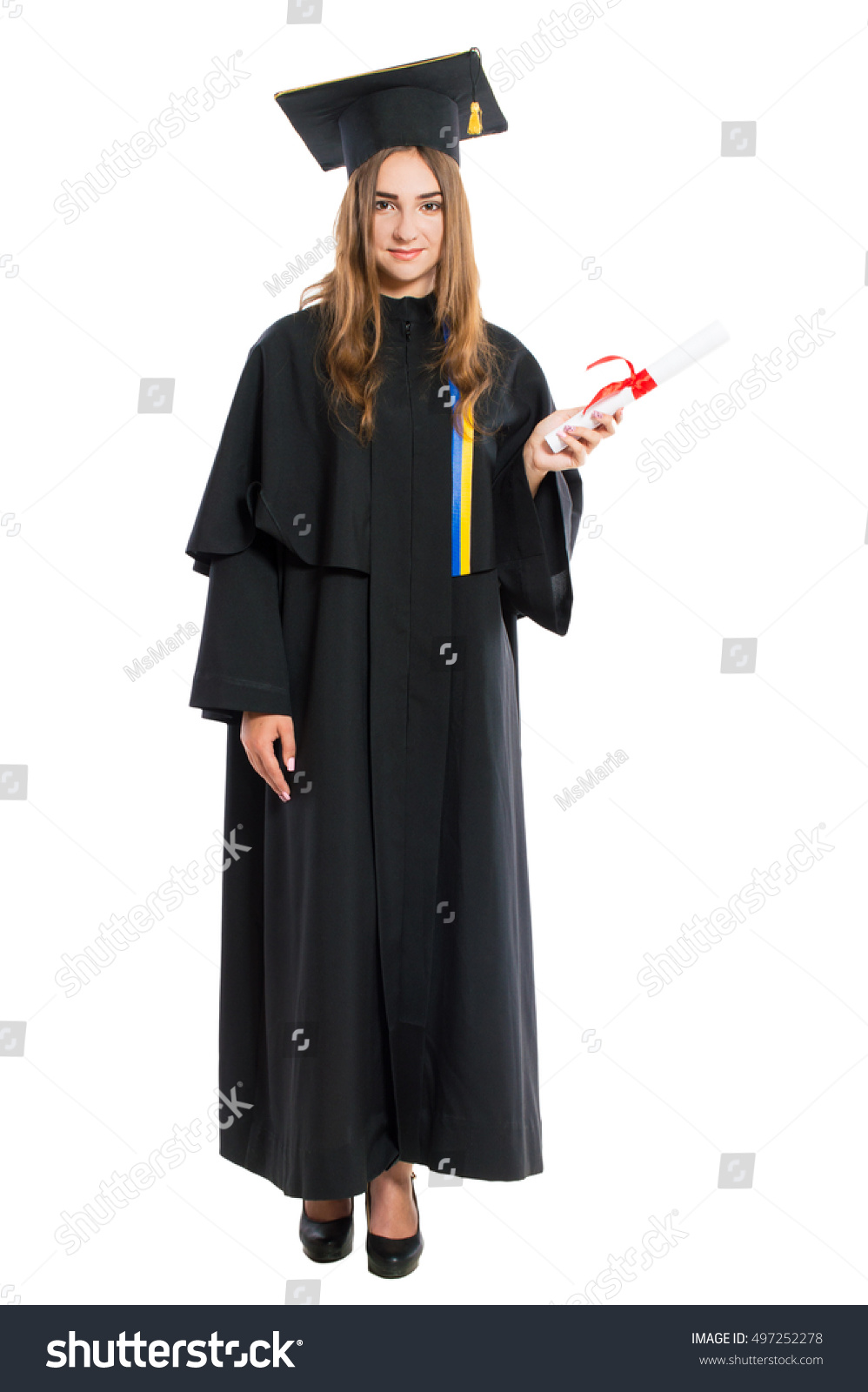 Young Lady Graduate Gown Holding Diploma Stock Photo (Edit Now ...