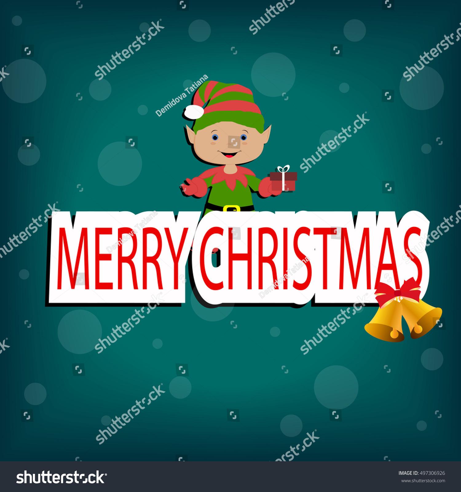 merry christmas elf template postcard greeting new year vector illustration - Merry Christmas Elf