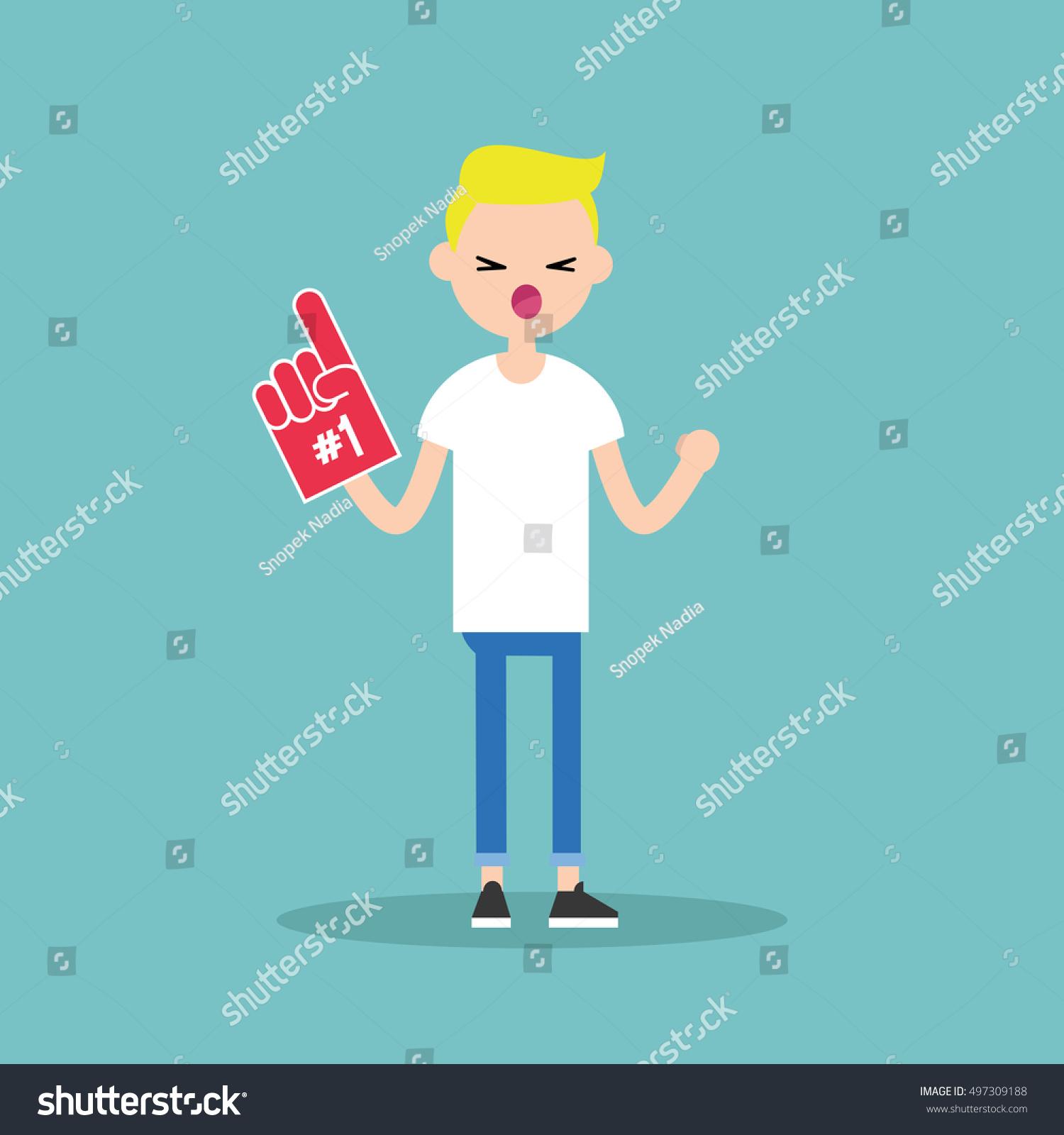 Young blonde teenage fan wearing foam finger / flat editable vector  illustration