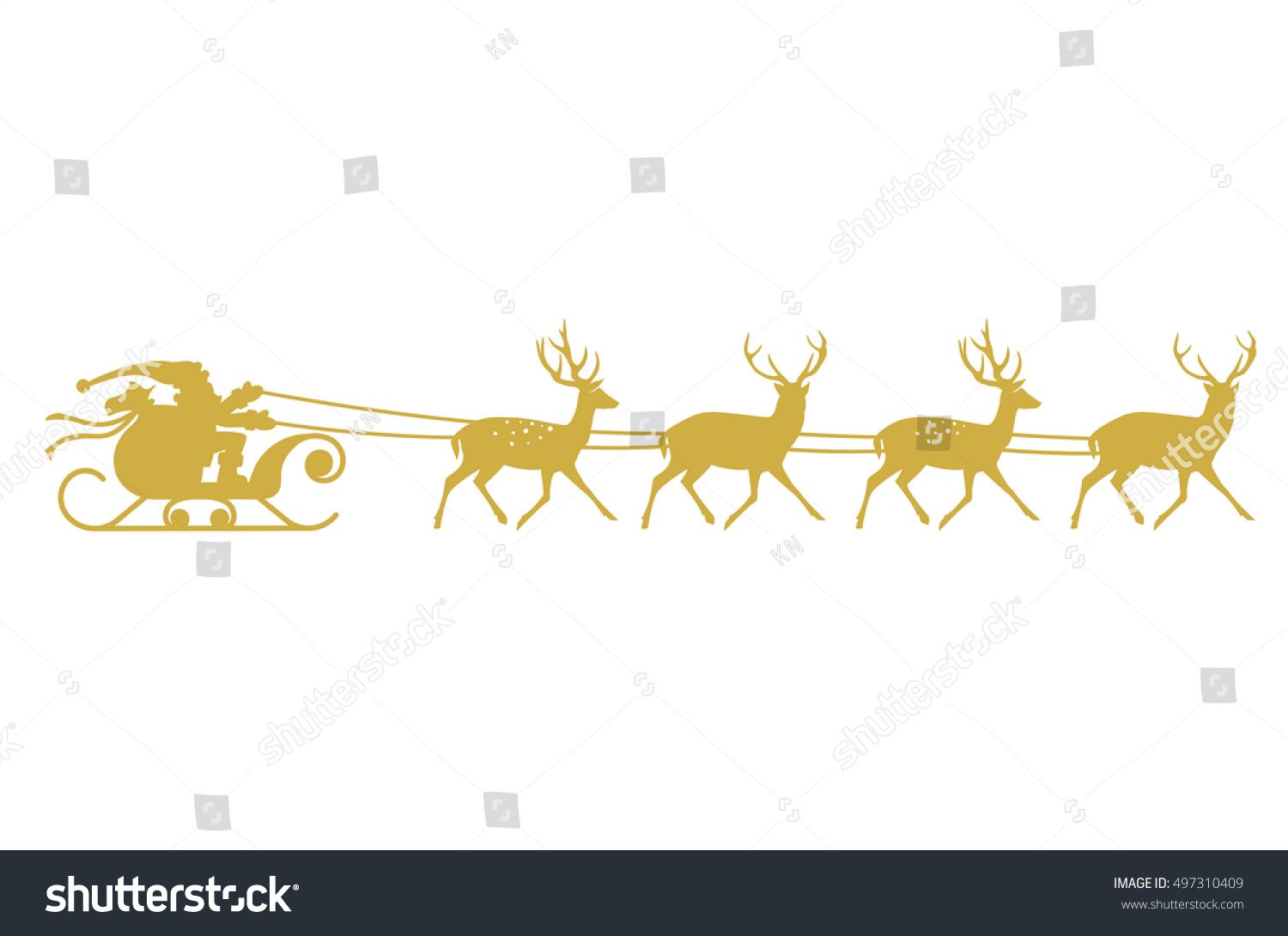 silhouette of santa claus and his sleigh royalty free