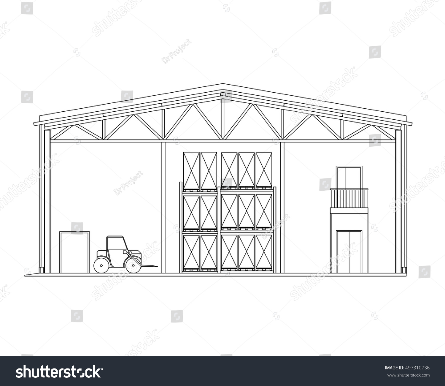 Modern warehouse forklift crosssection storage vector stock vector modern warehouse with forklift cross section storage vector blueprint architectural background malvernweather Image collections