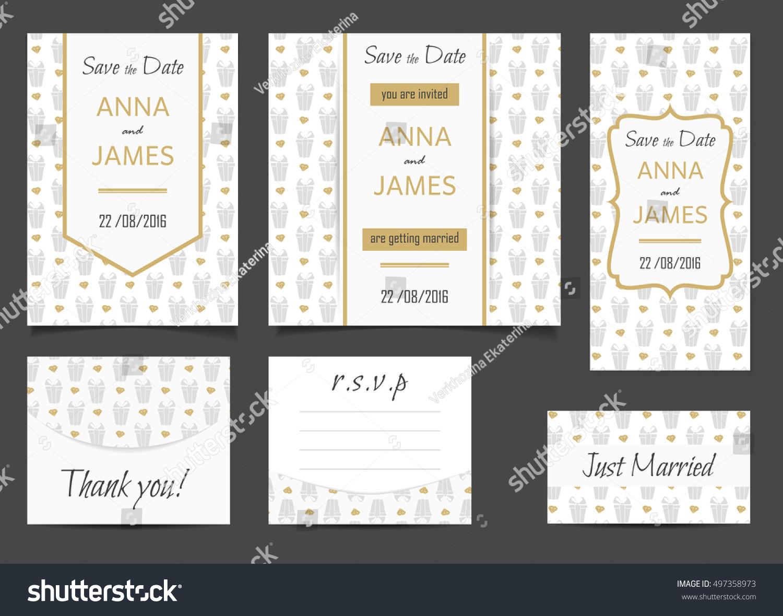 Beautiful Wedding Set Printed Materials Abstract Stock Vector ...