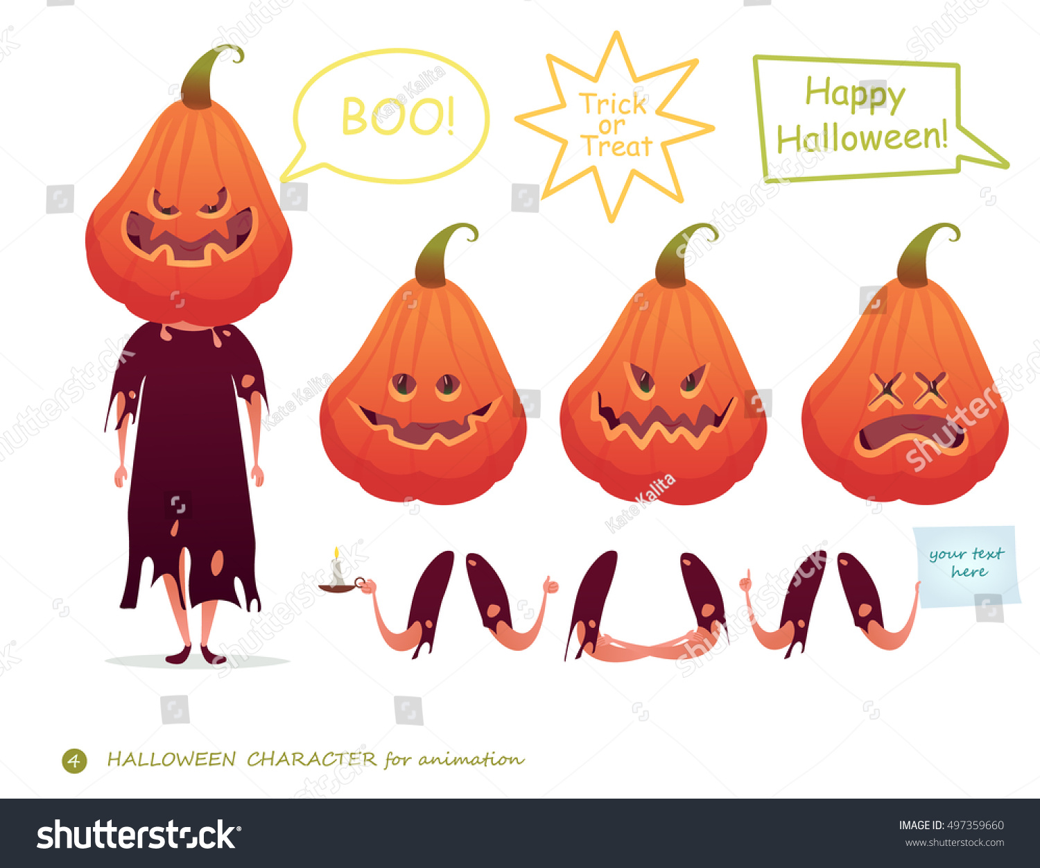 Vector Illustration Pumpkin Emotion Faces Emoji Stock Vector ...