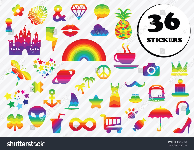 Vector Illustration Pastel Trendy Stickers Messenger Stock