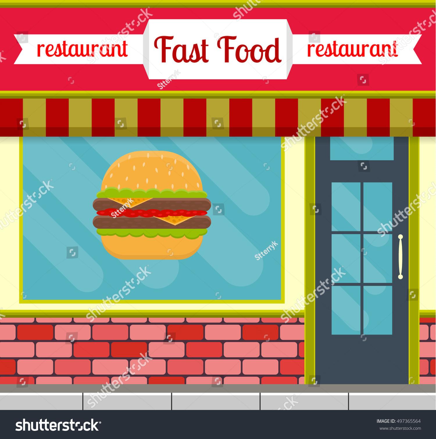fast food restaurant facade flat style stock illustration 497365564 shutterstock. Black Bedroom Furniture Sets. Home Design Ideas
