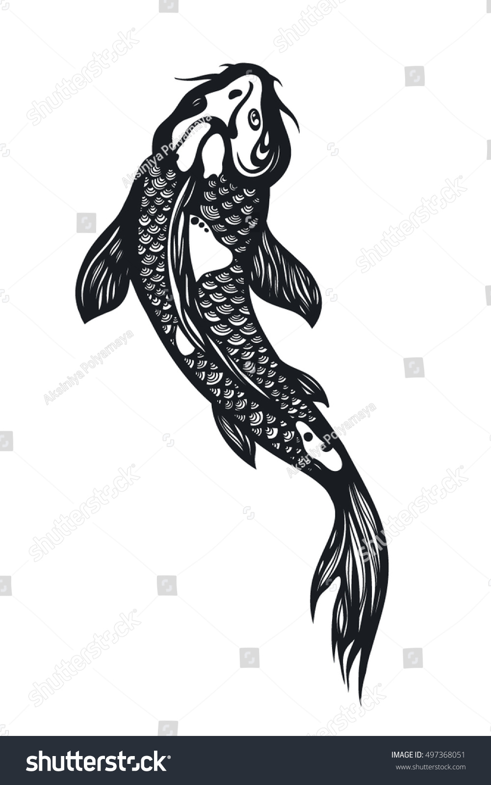 Fish koi carp chinese symbol good stock vector 497368051 chinese symbol of good luck courage persistence perseverance biocorpaavc Images
