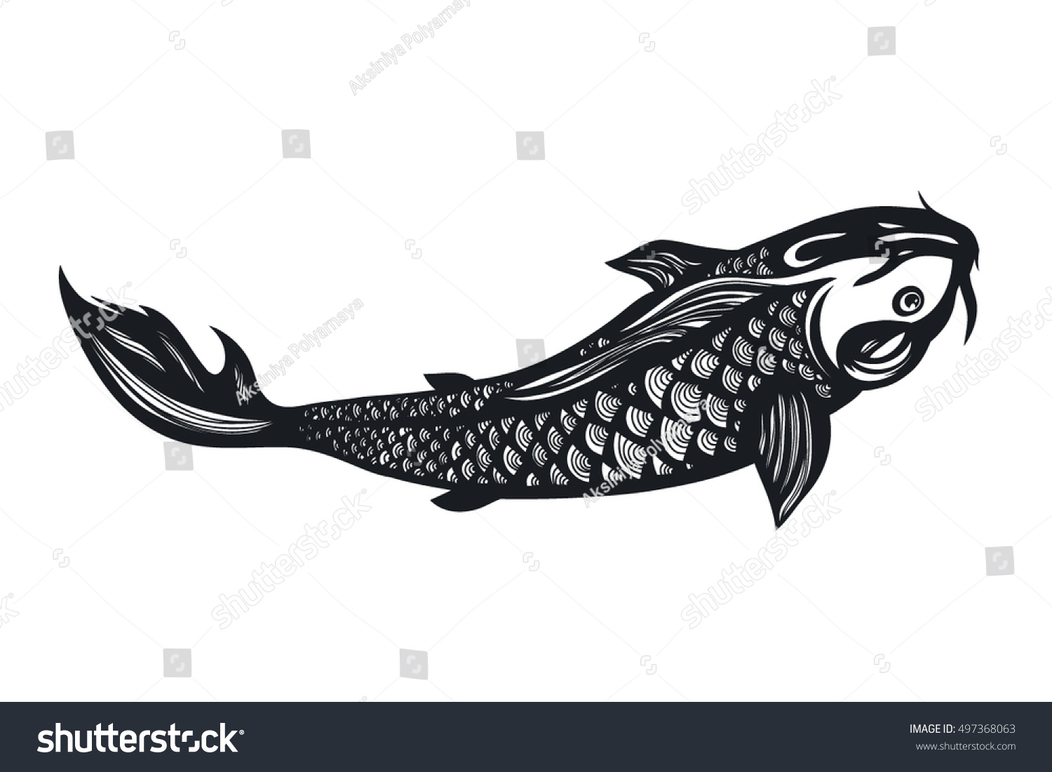 Fish koi carp chinese symbol good stock vector 497368063 chinese symbol of good luck courage persistence perseverance buycottarizona