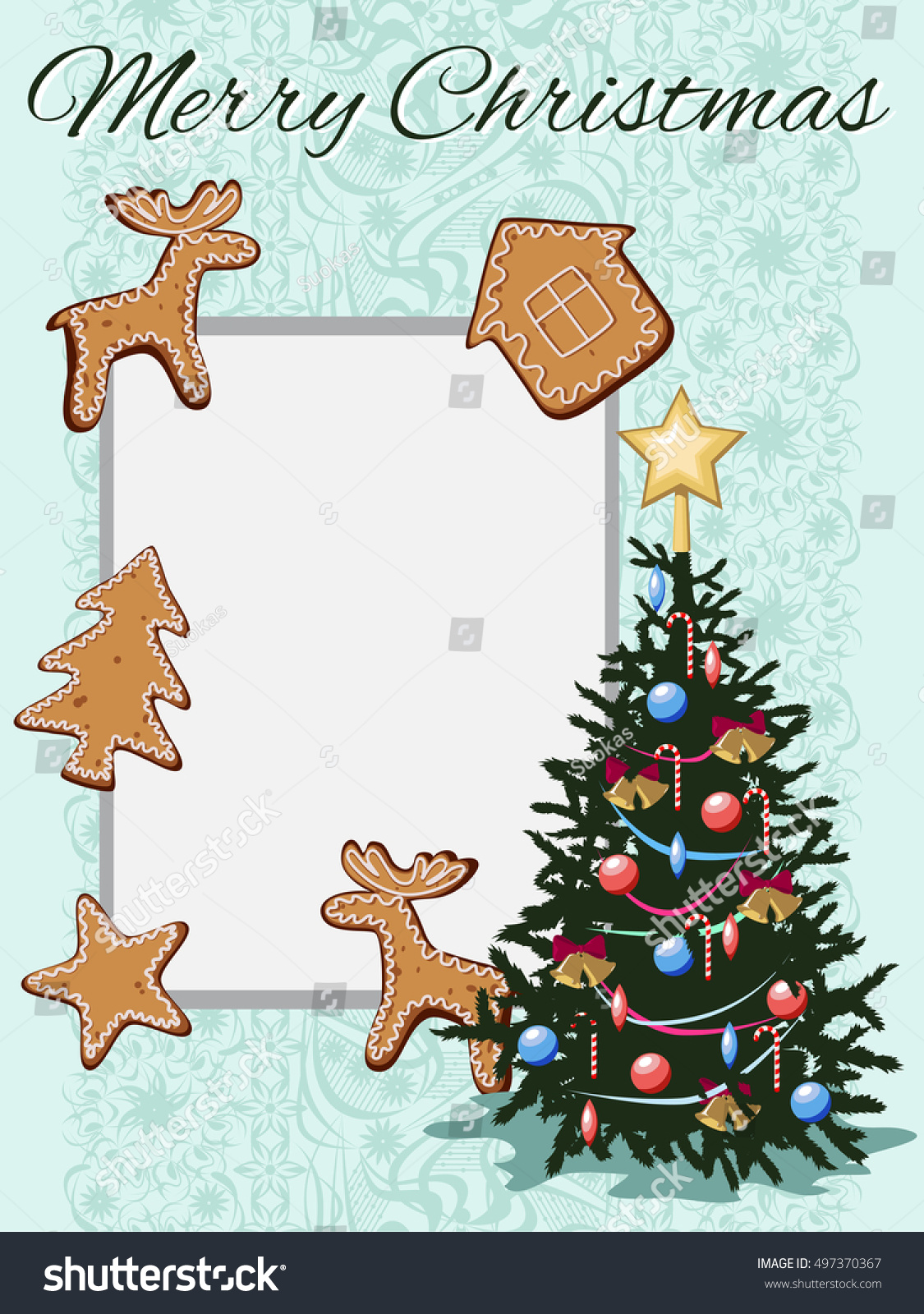 Template Greeting Card Decorated Christmas Tree Stock Vector