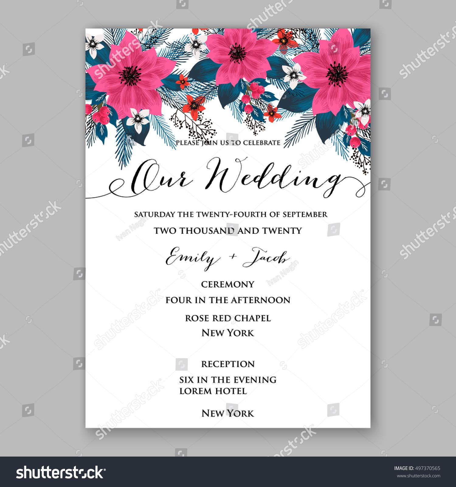 Poinsettia Wedding Invitation Sample Card Beautiful Stock Vector