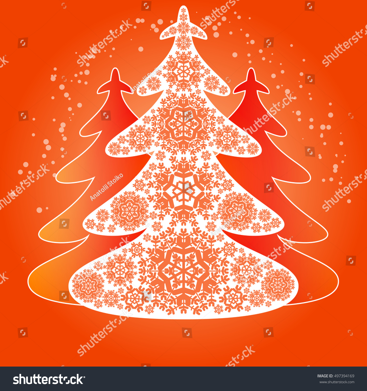 hristmas tree from white snowflakes orange christmas background - Orange Christmas Tree