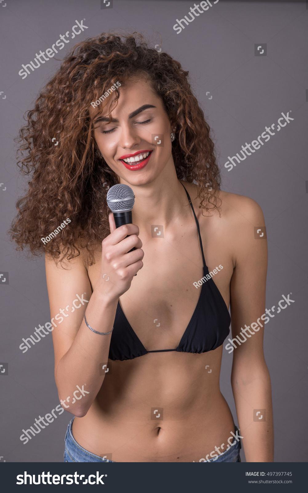 Bikini girl singing