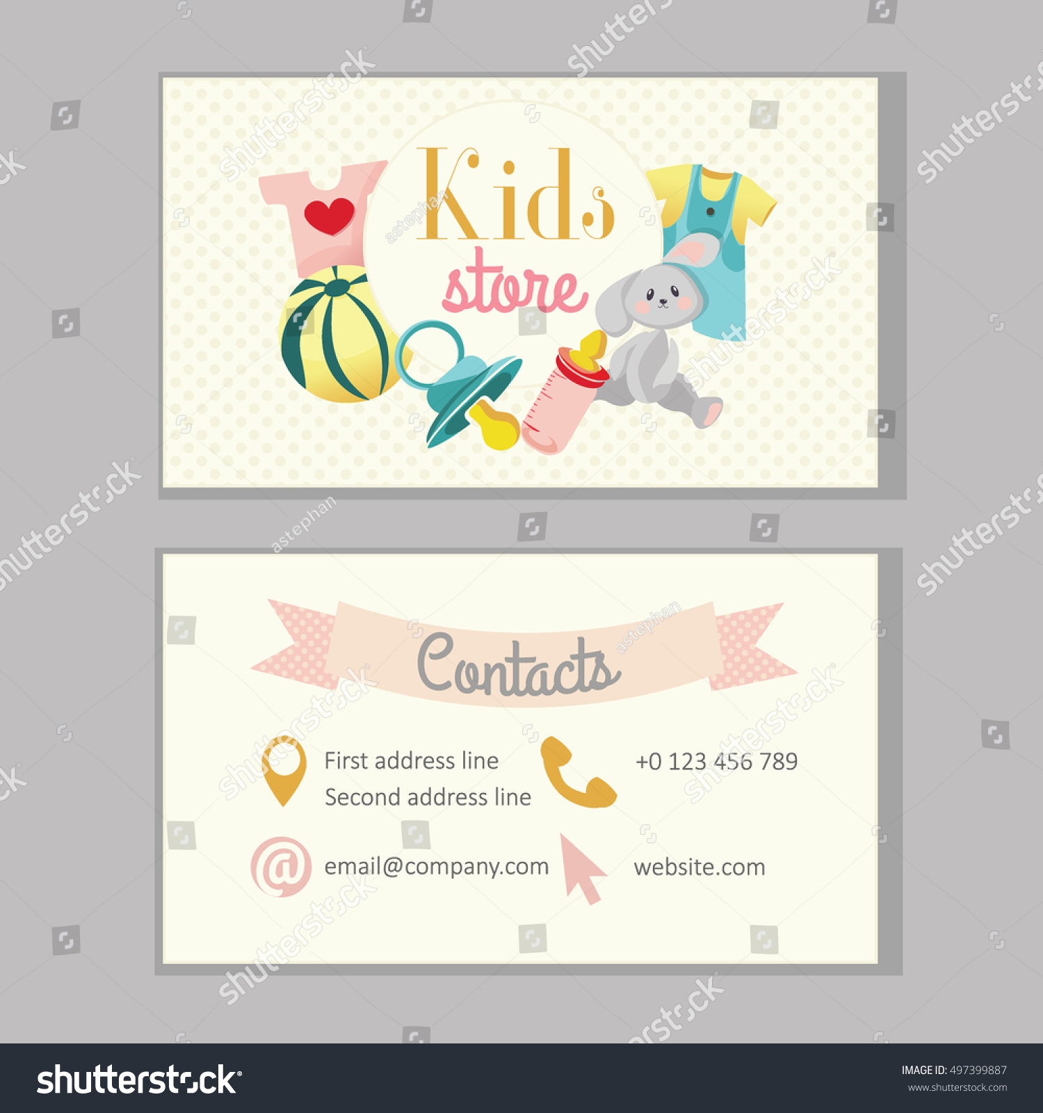 Kids store baby shop kindergarten business stock vector 497399887 kids store baby shop or kindergarten business card template magicingreecefo Choice Image