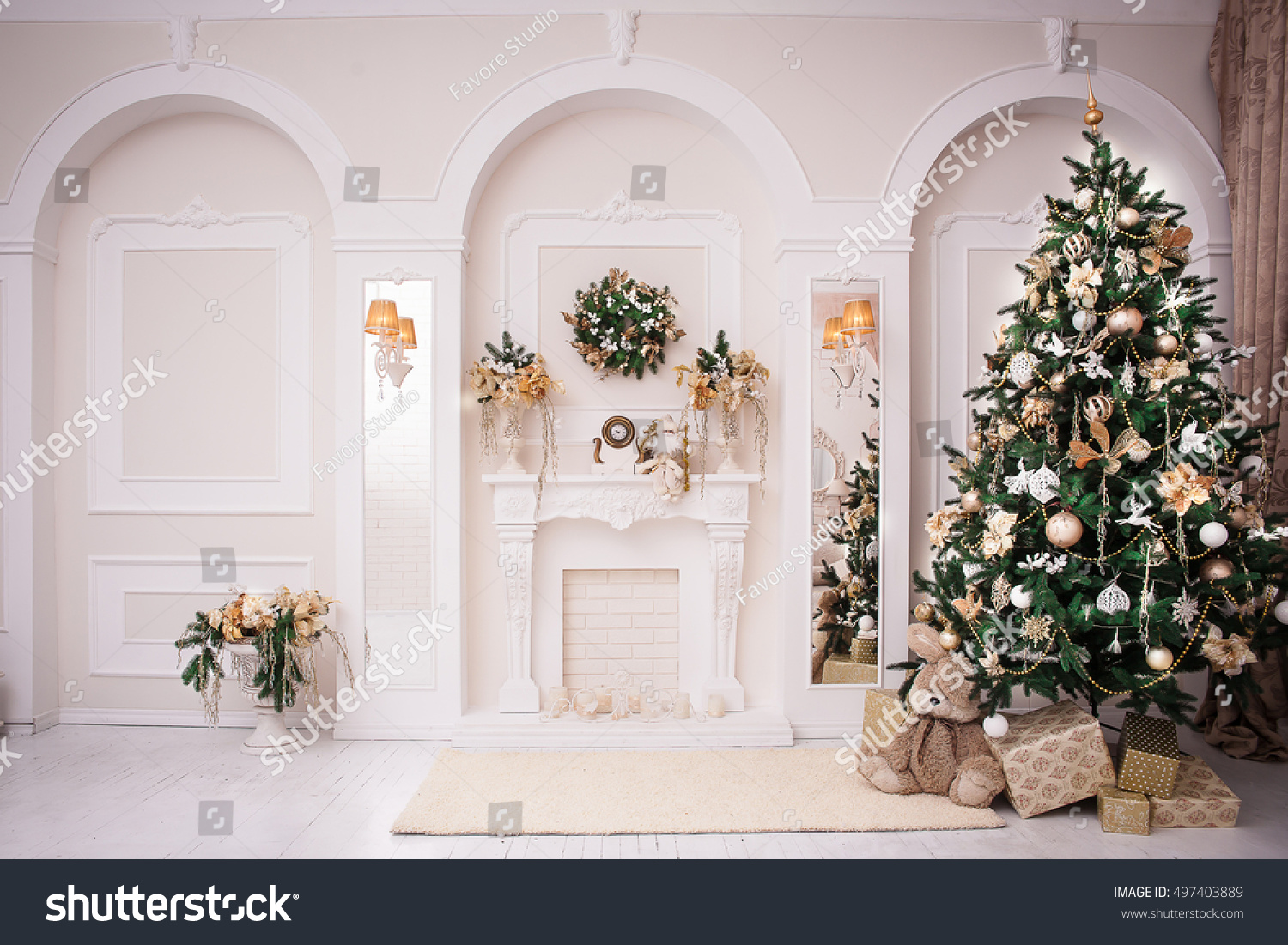 majestic white hall classical fireplace arches stock photo