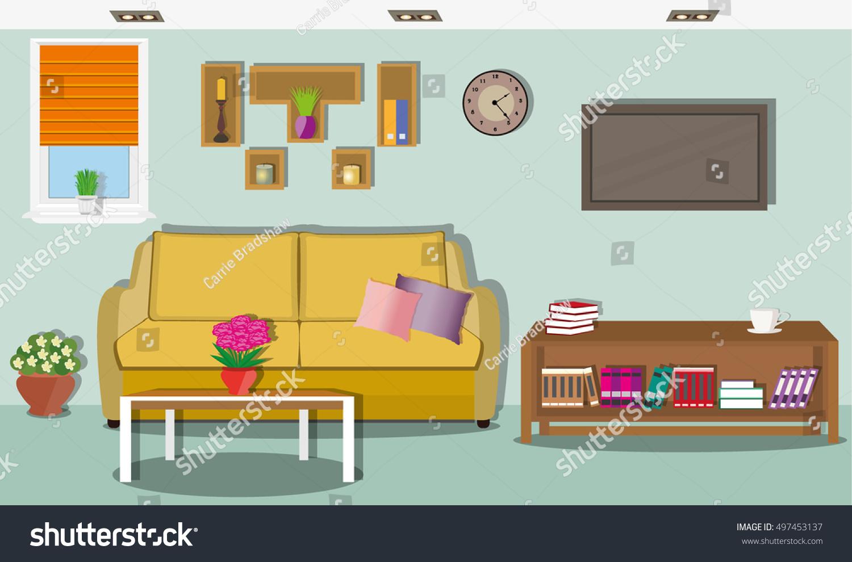 Modern Interieur Wit : Modern comfortable living room interior design stock vector