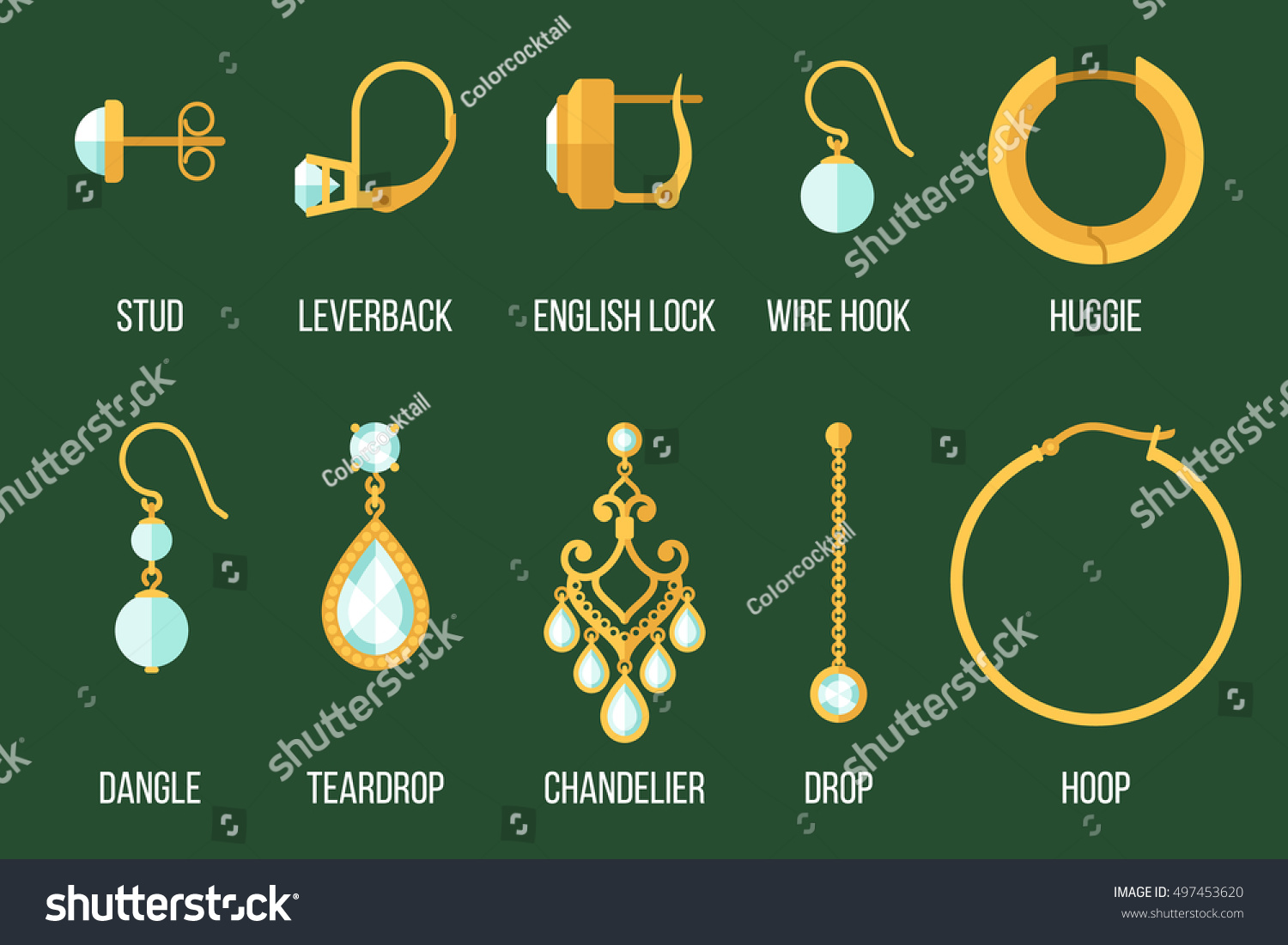 Vector Set Of Different Earring Styles And Closure Types Flat Style