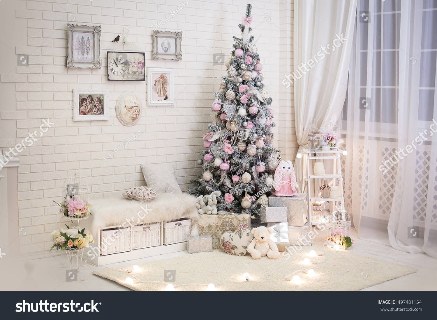 Christmas Tree Pink Shabby Chic Style Stock Photo