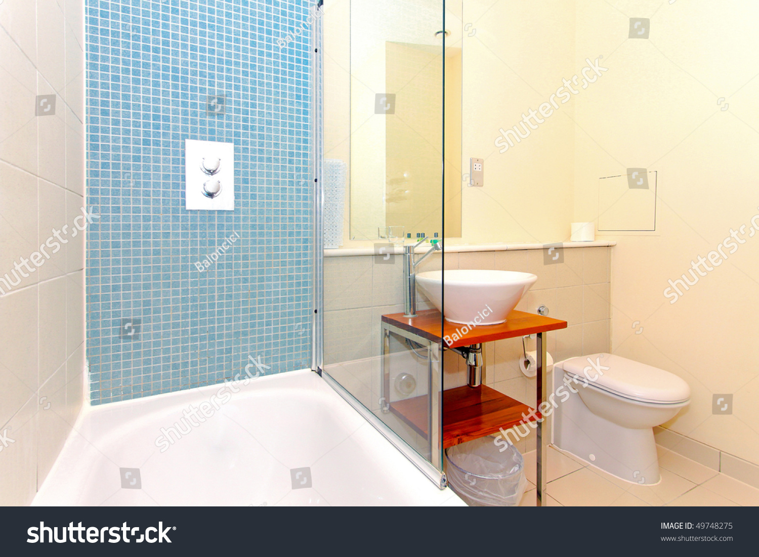 Modern Hotel Bathroom Blue Mosaic Tiles Stock Photo (Safe to Use ...