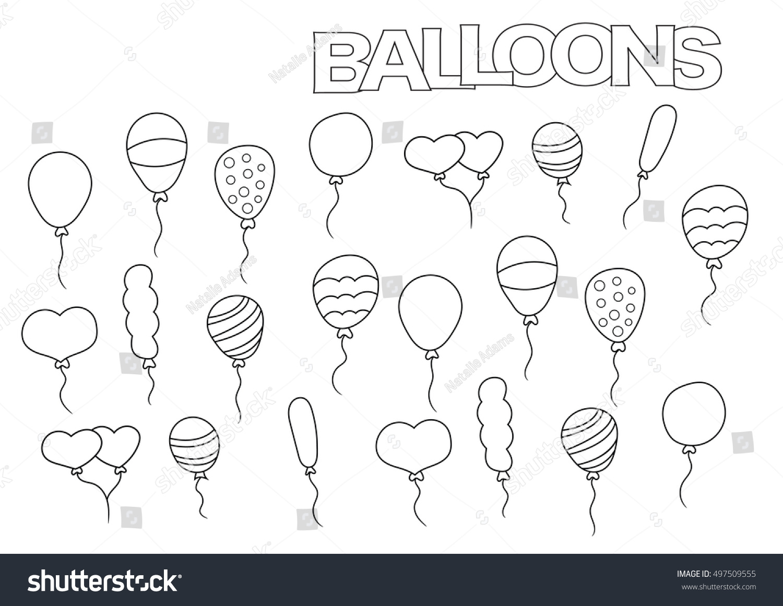 Hand Drawn Balloons Set Coloring Book Stock Vector