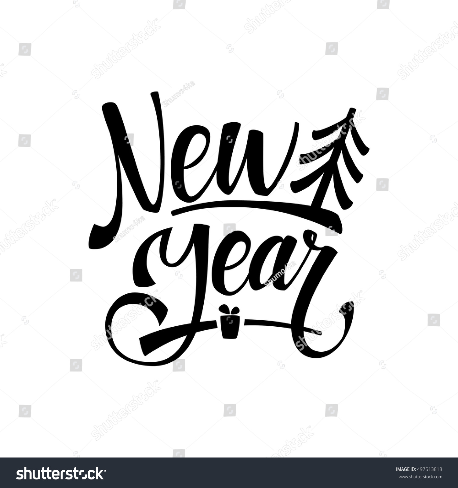 Happy new year calligraphy greeting card stock vector