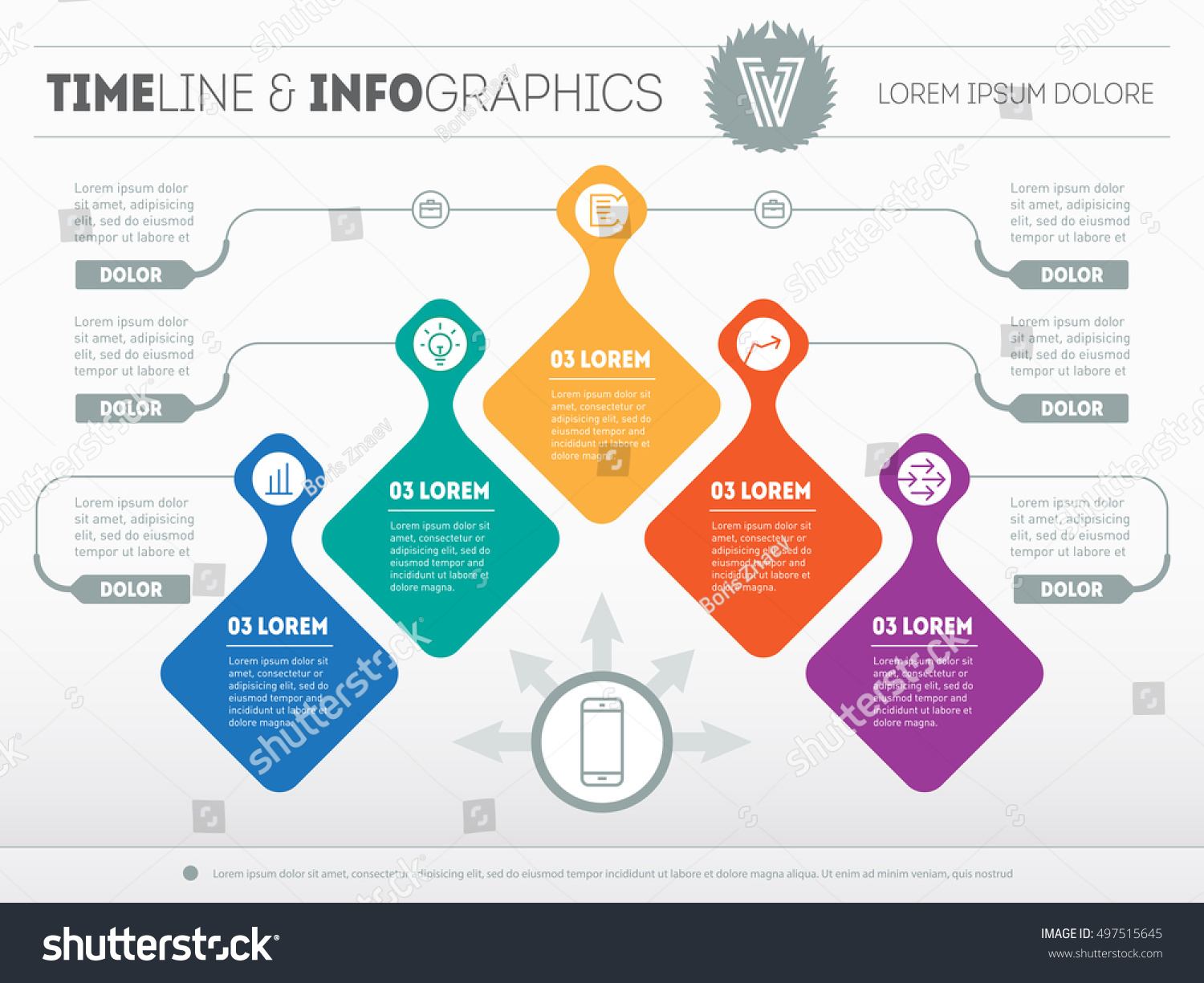 Infographic With Design Elements. Vector Presentation Of Business  Processes. Business Plan With 5 Steps