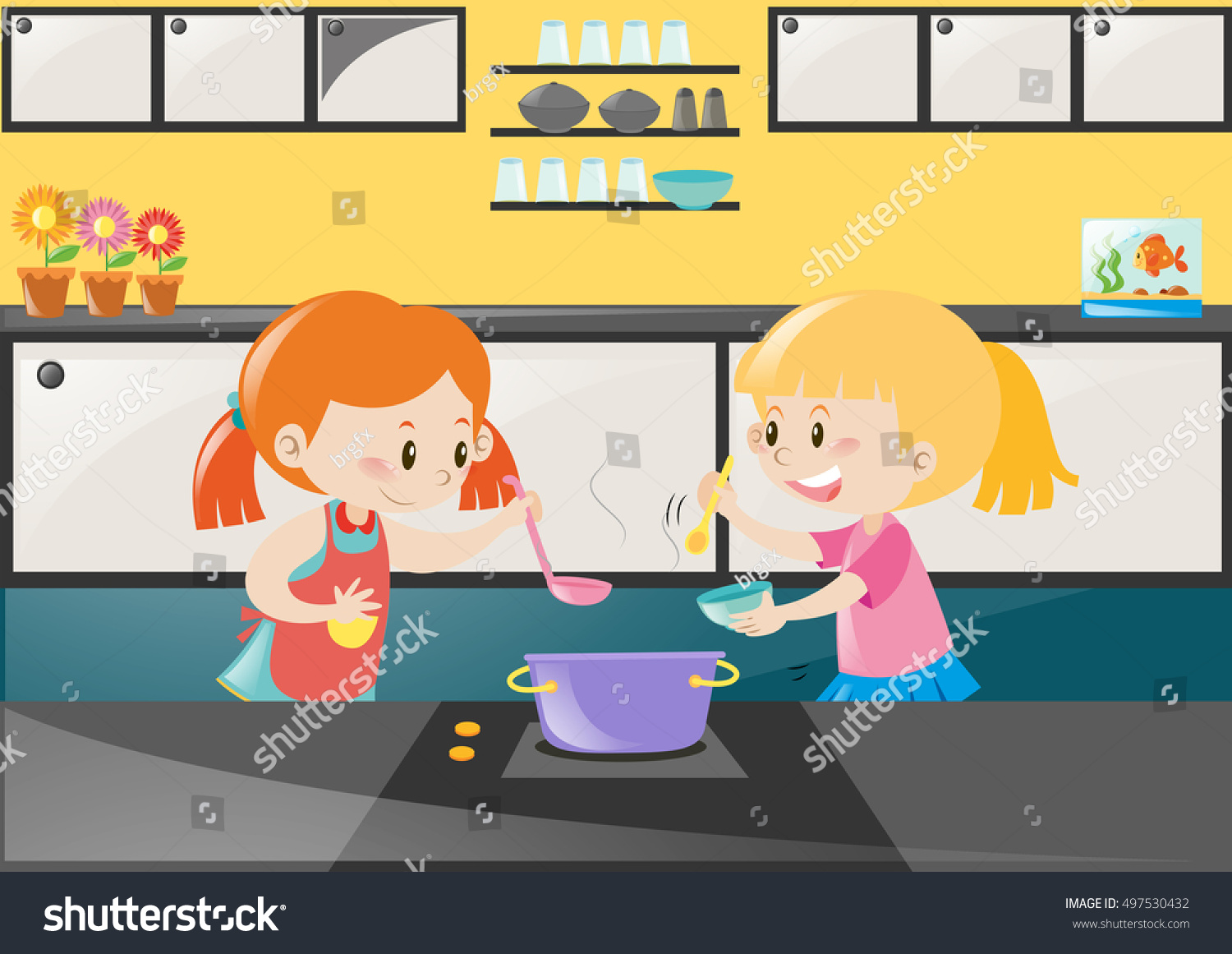 Play kitchen clip art - Two Girls Cooking Soup In Kitchen Illustration