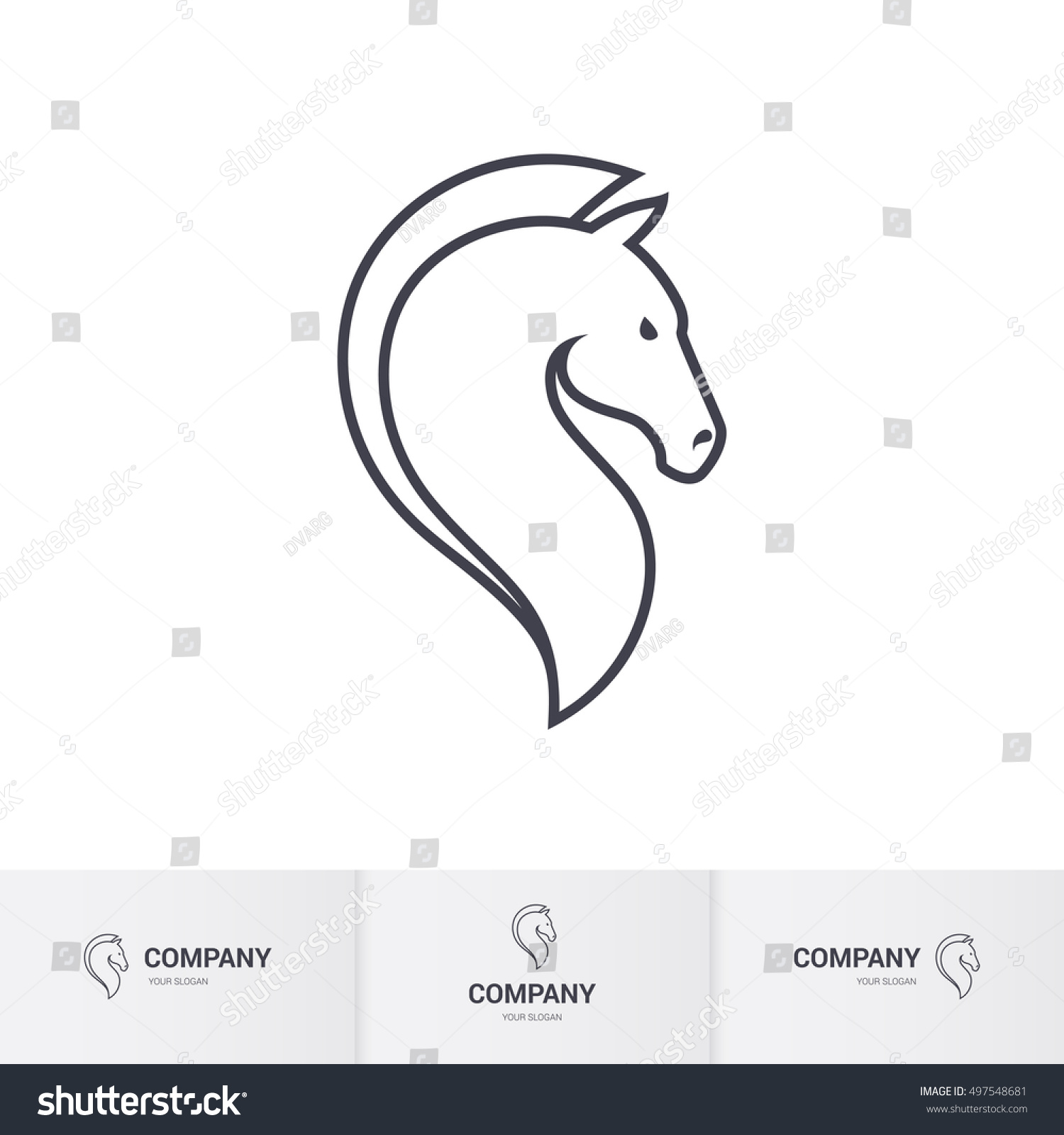Stylized Horse Head Mascot Logo Template Stock Vector Royalty Free