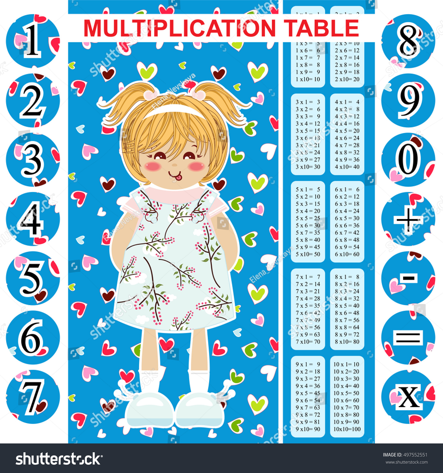 Vector Multiplication Table Printable Bookmark Poster Stock Vector ...