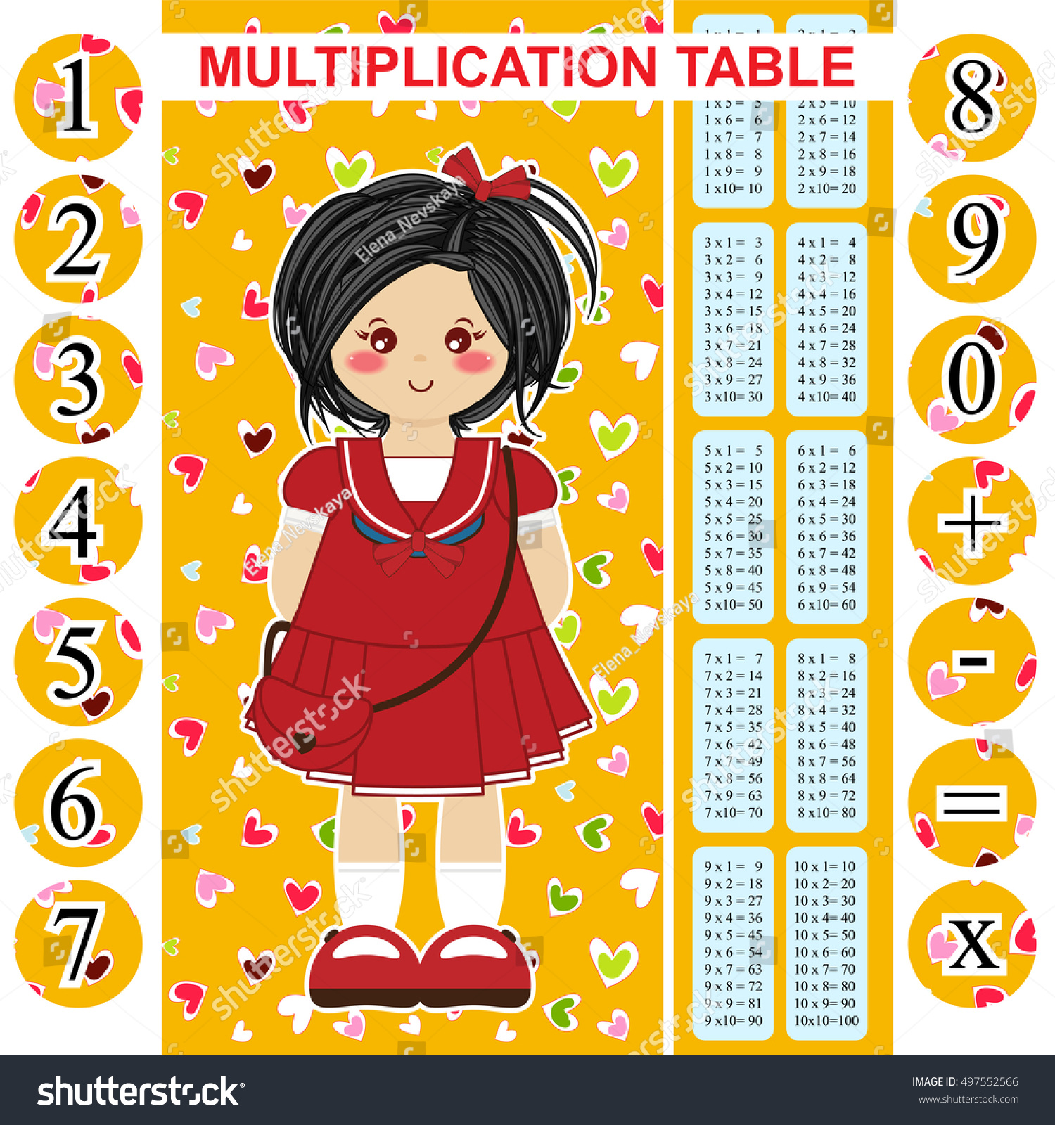 Poster 60 x 80 design - Printable Bookmark Poster And Stickers With Multiple Tables And Numbers
