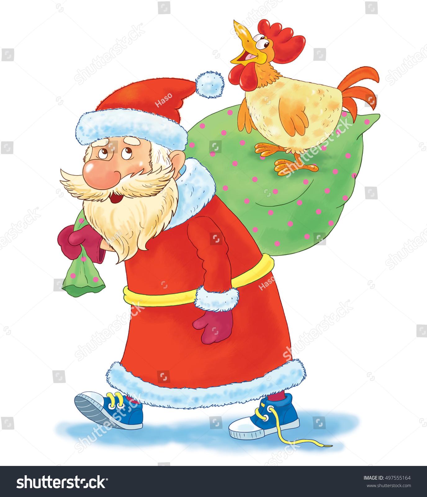 New 2017 Year Christmas Greeting Card Cute Funny Santa In